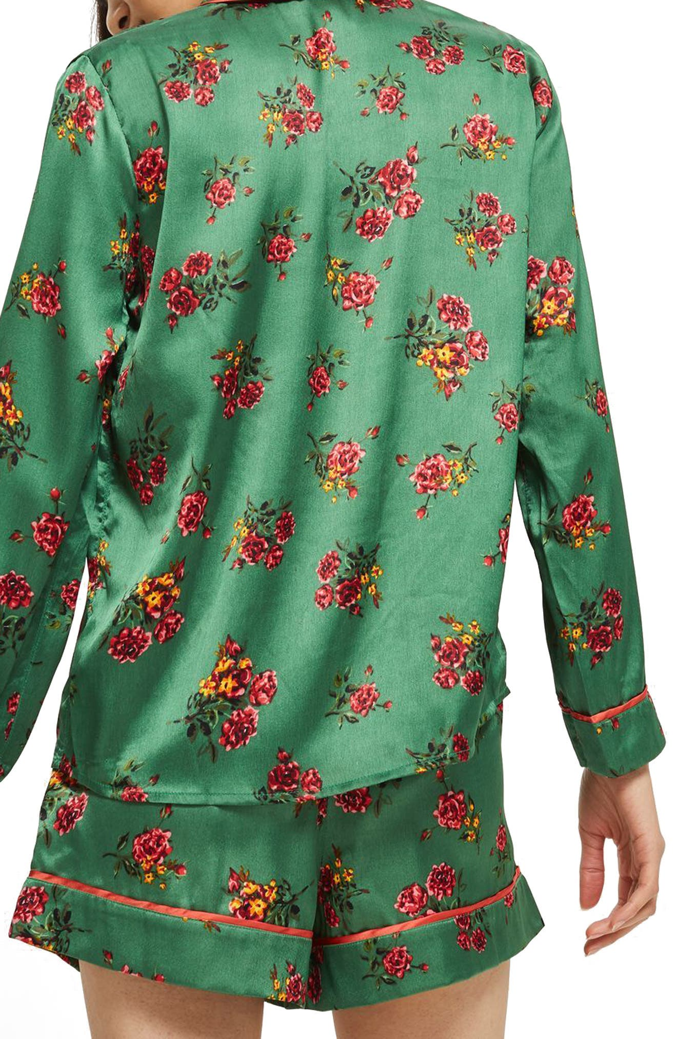 Floral Print Pajama Shirt,                             Alternate thumbnail 2, color,