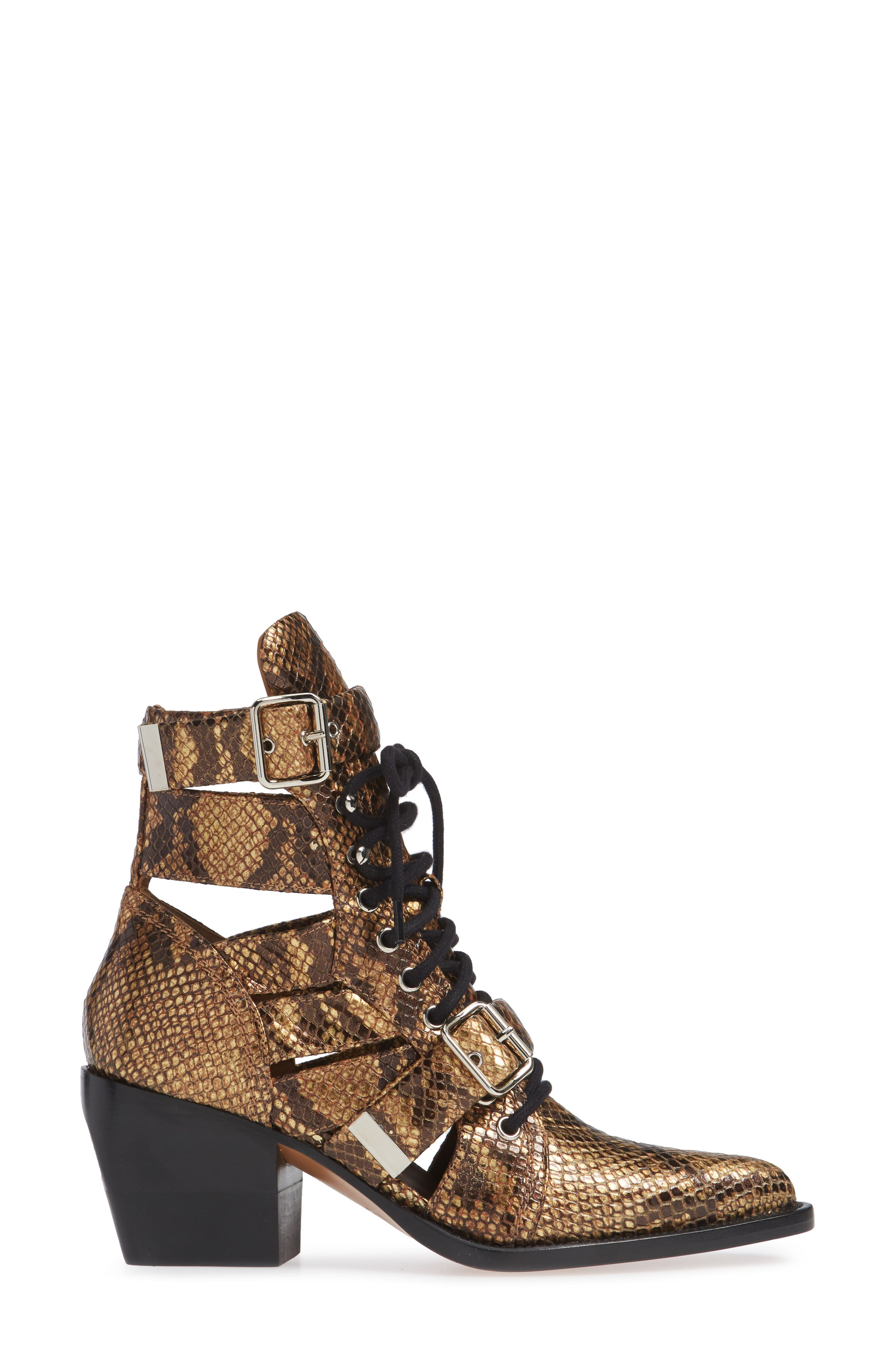 CHLOÉ,                             Rylee Pointy Toe Cage Boot,                             Alternate thumbnail 3, color,                             HARVEST GOLD LEATHER