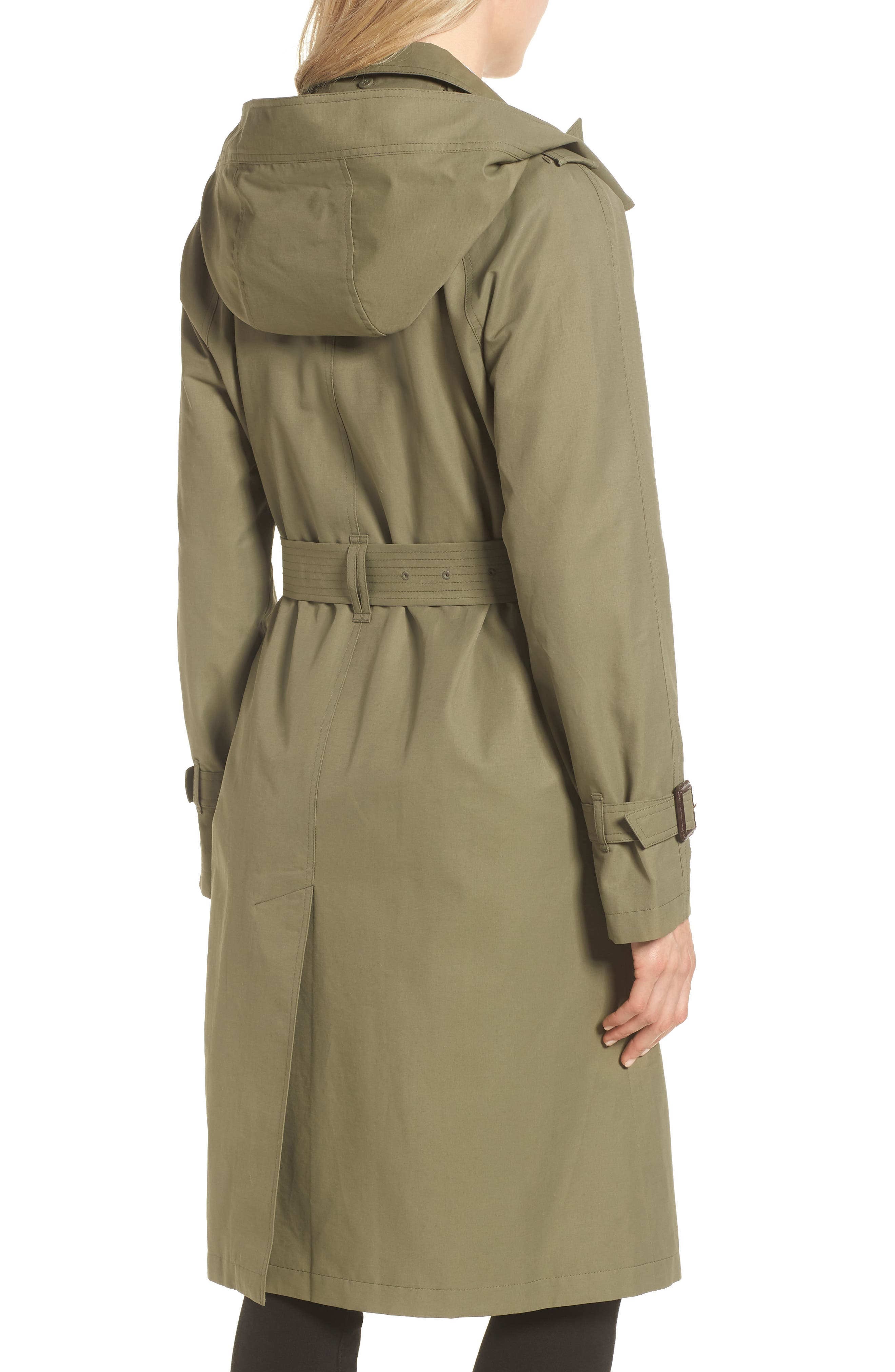 Hooded Trench Coat,                             Alternate thumbnail 2, color,                             ARMY