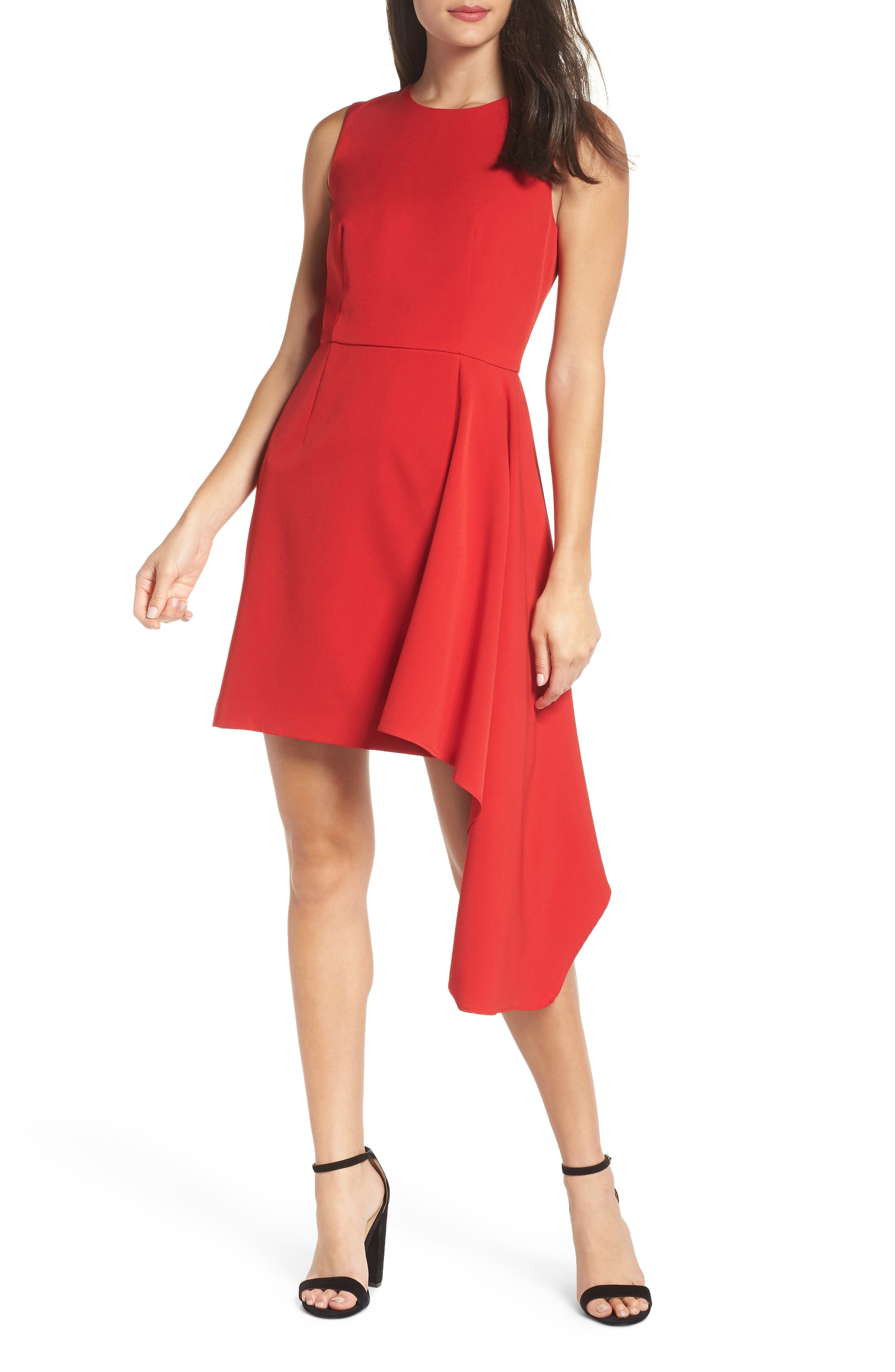 Chelsea28 Asymmetrical A-Line Dress, Red