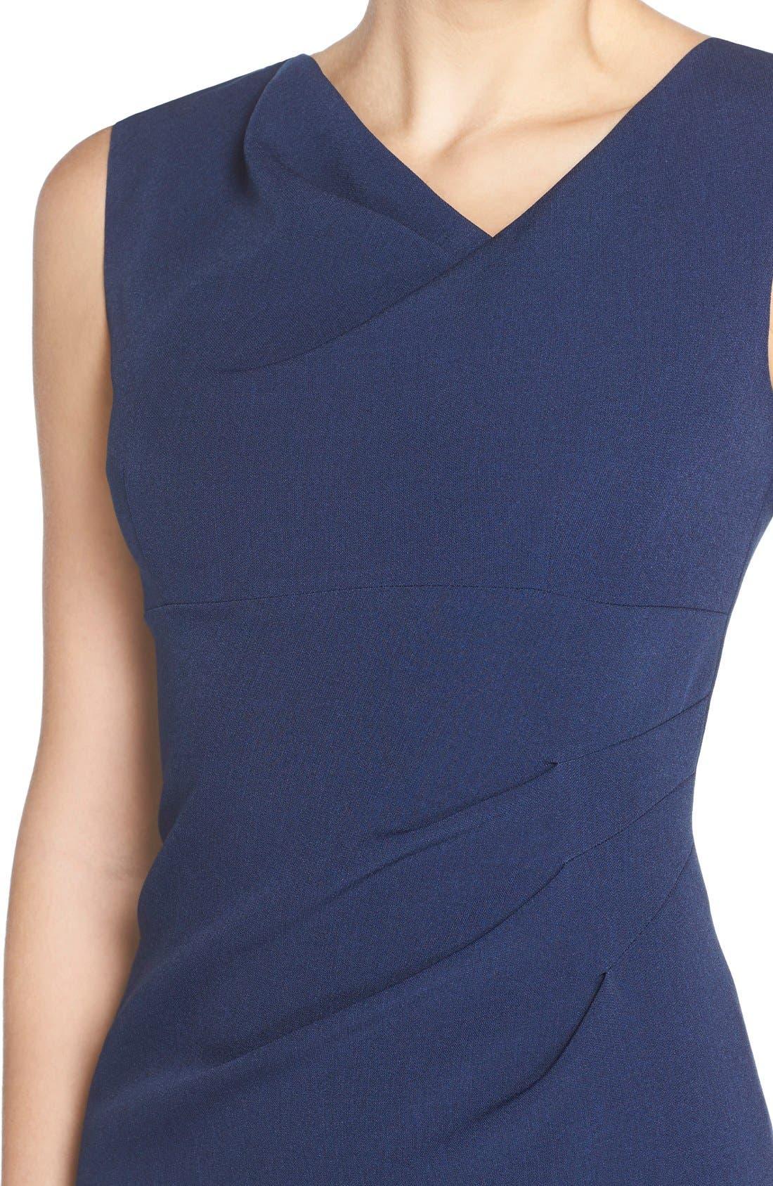 Drape Neck Crepe Sheath Dress,                             Alternate thumbnail 3, color,                             401