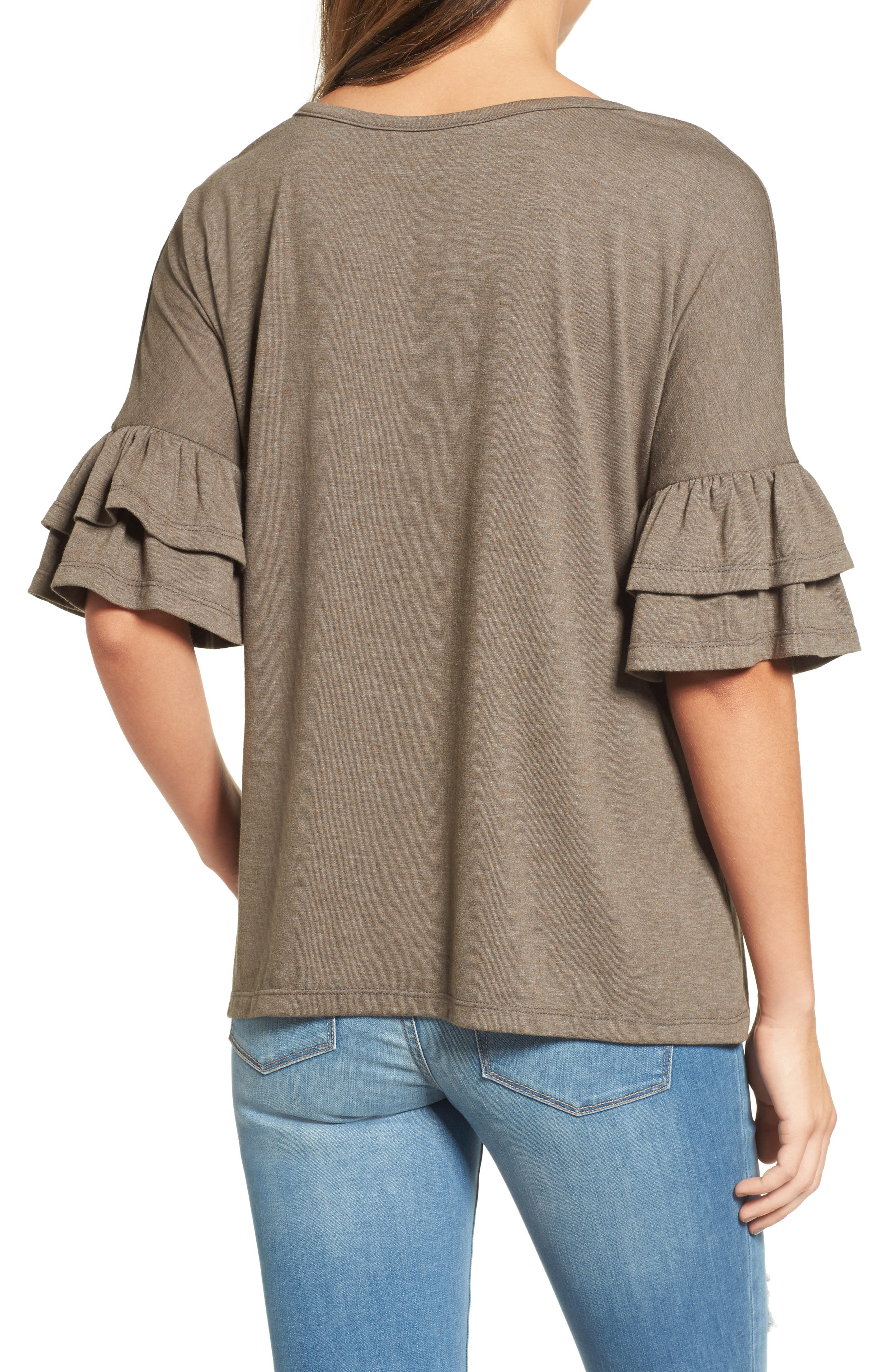 Tiered Bell Sleeve Tee,                             Alternate thumbnail 13, color,