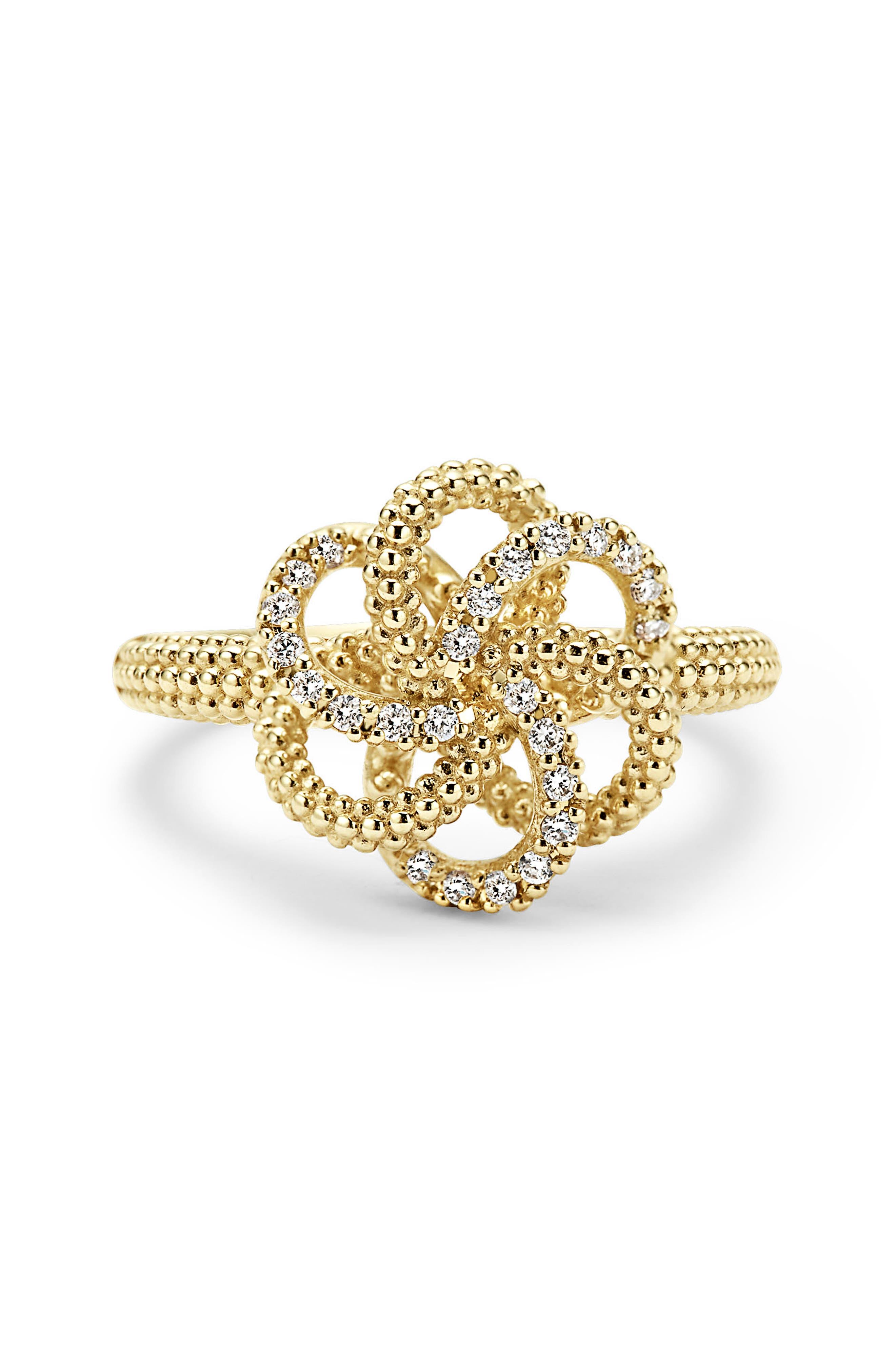 'Love Knot' Diamond Ring,                             Alternate thumbnail 4, color,                             GOLD