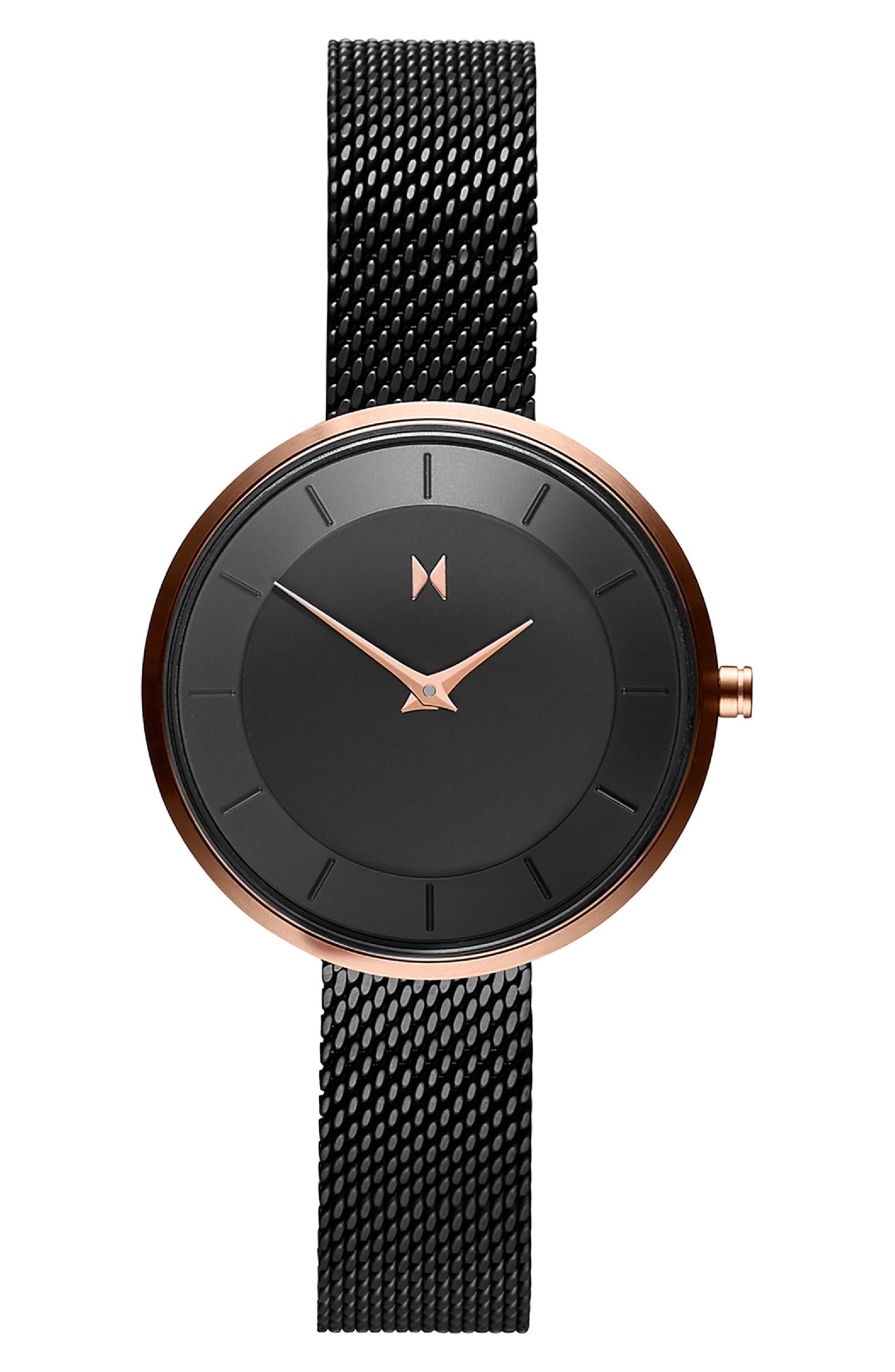 MVMT Mod Mesh Strap Bracelet Watch, 32Mm in Black/ Rose Gold