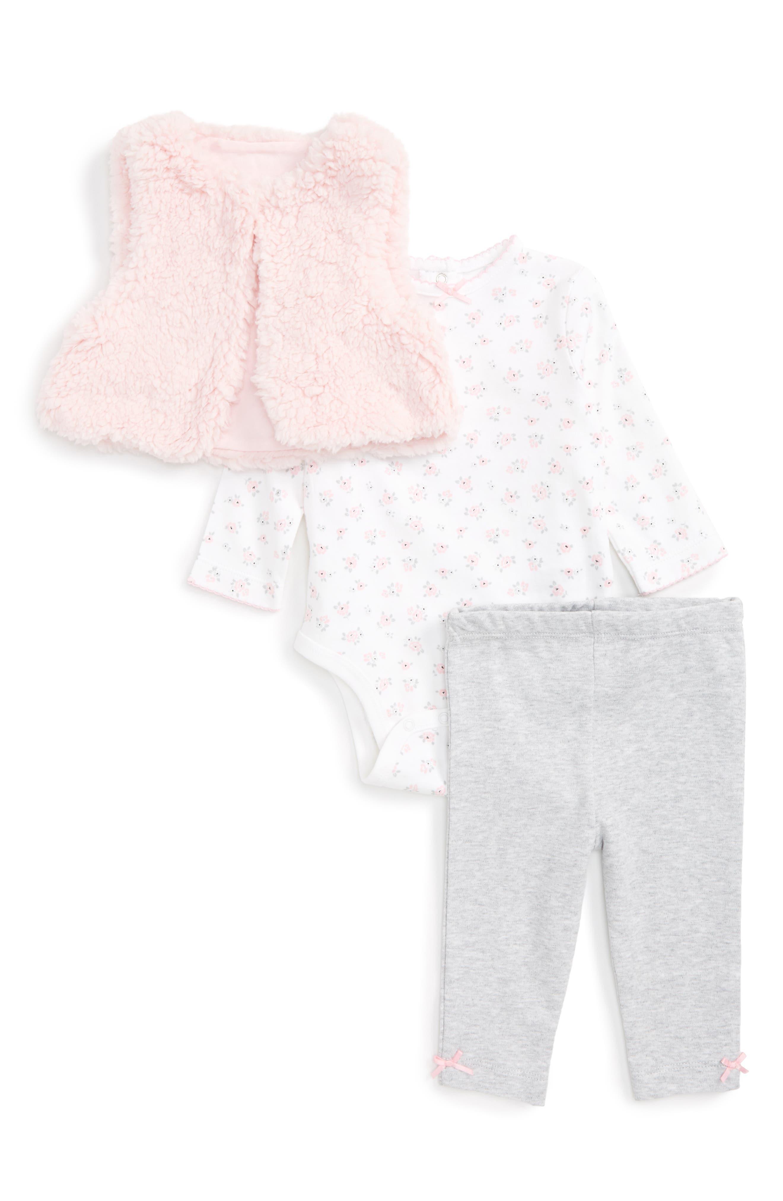 Petite Rose Fleece Vest, Bodysuit & Leggings Set,                         Main,                         color, 650