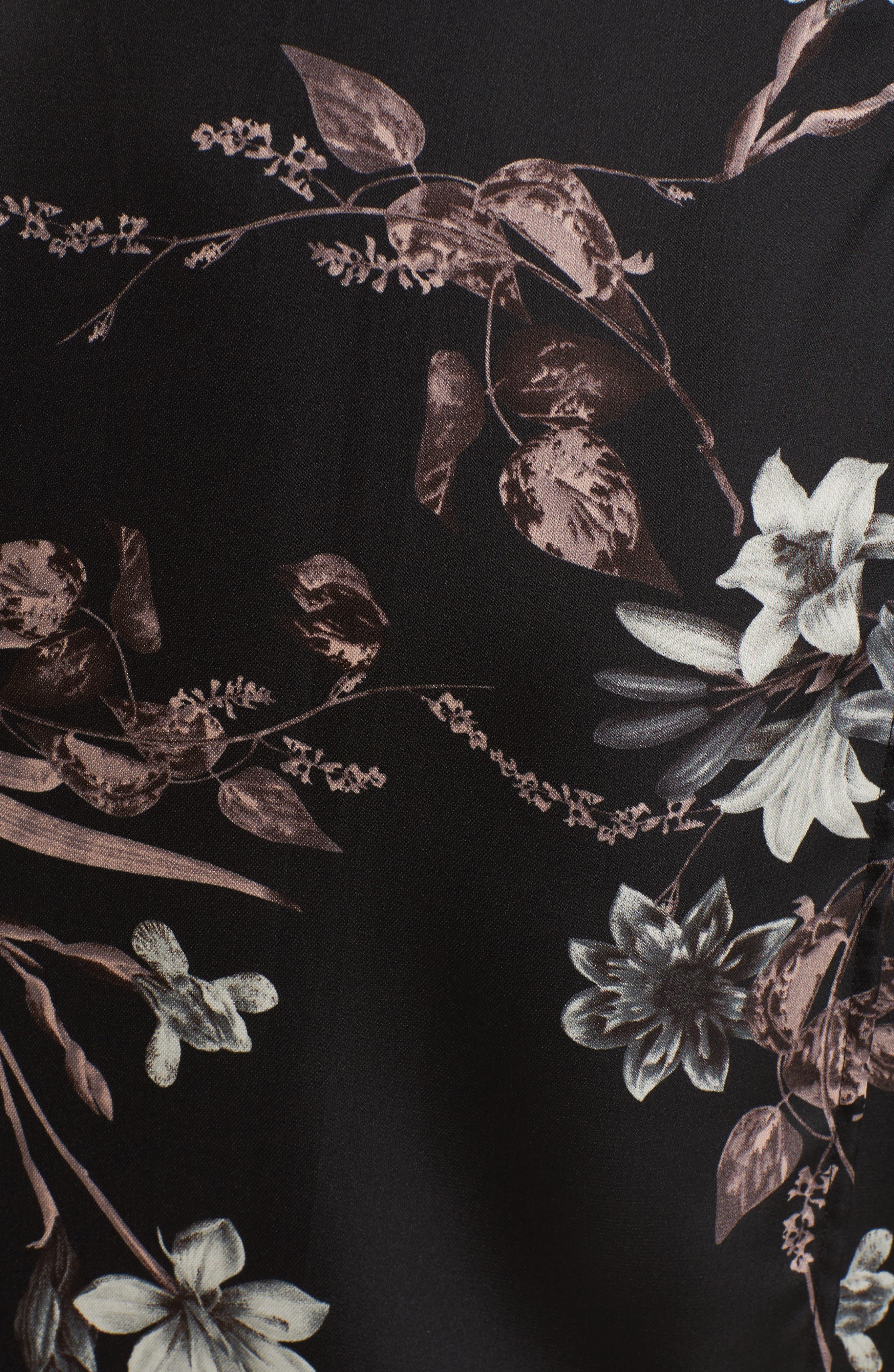Satin Wrap Dress,                             Alternate thumbnail 5, color,                             001