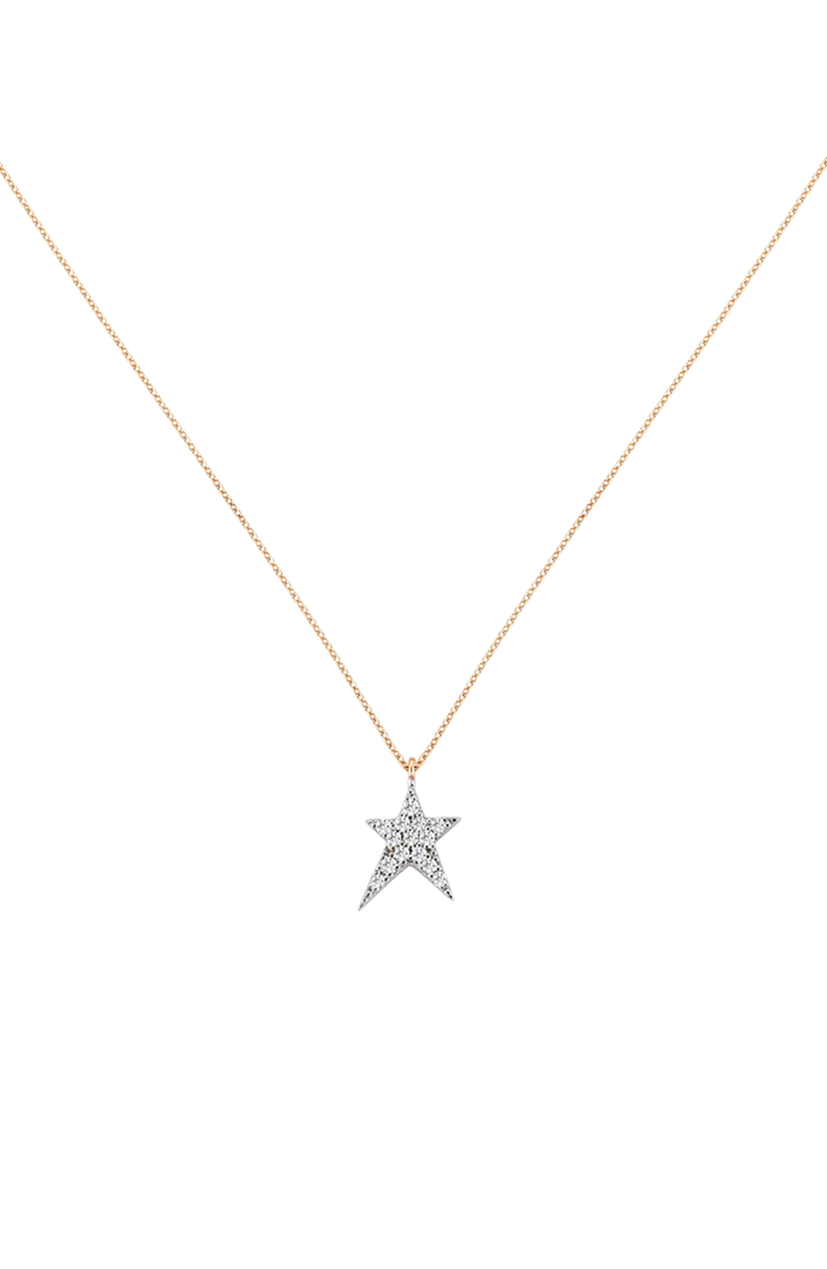Struck Star Diamond Necklace,                         Main,                         color, ROSE GOLD