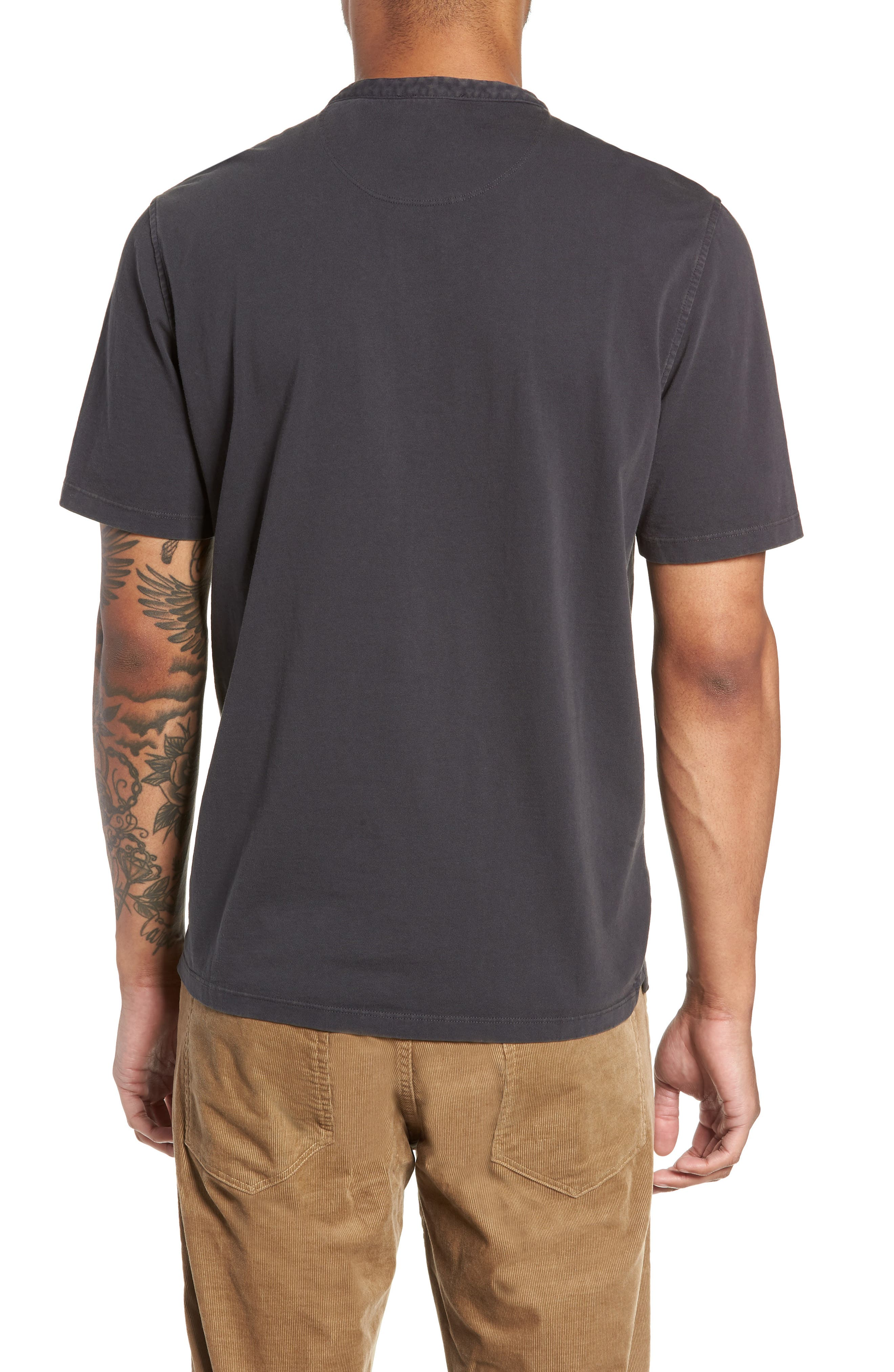 VINCE,                             Regular Fit Garment Dye Short Sleeve Henley,                             Alternate thumbnail 2, color,                             001