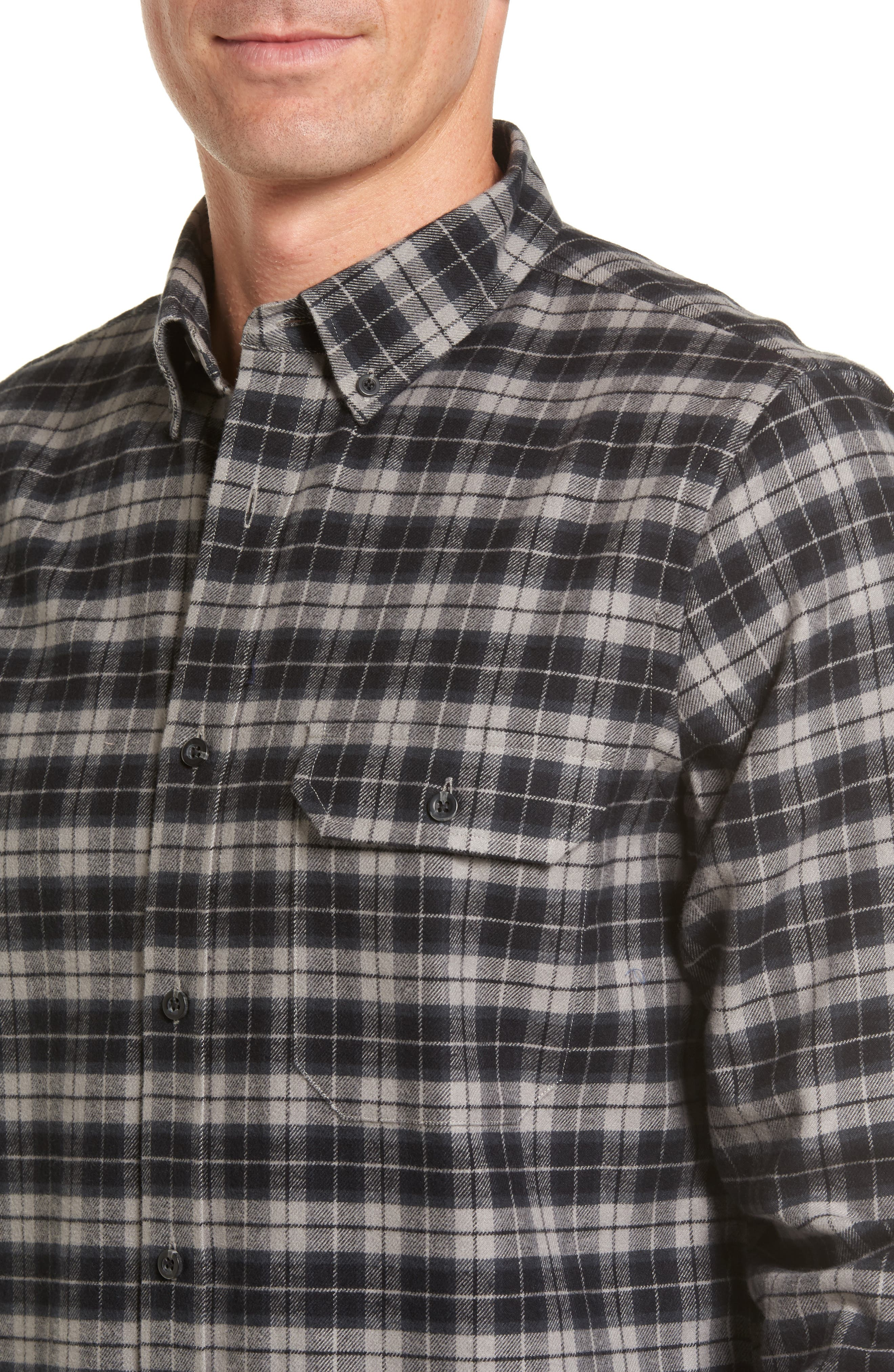 Regular Fit Plaid Sport Shirt,                             Alternate thumbnail 4, color,                             030