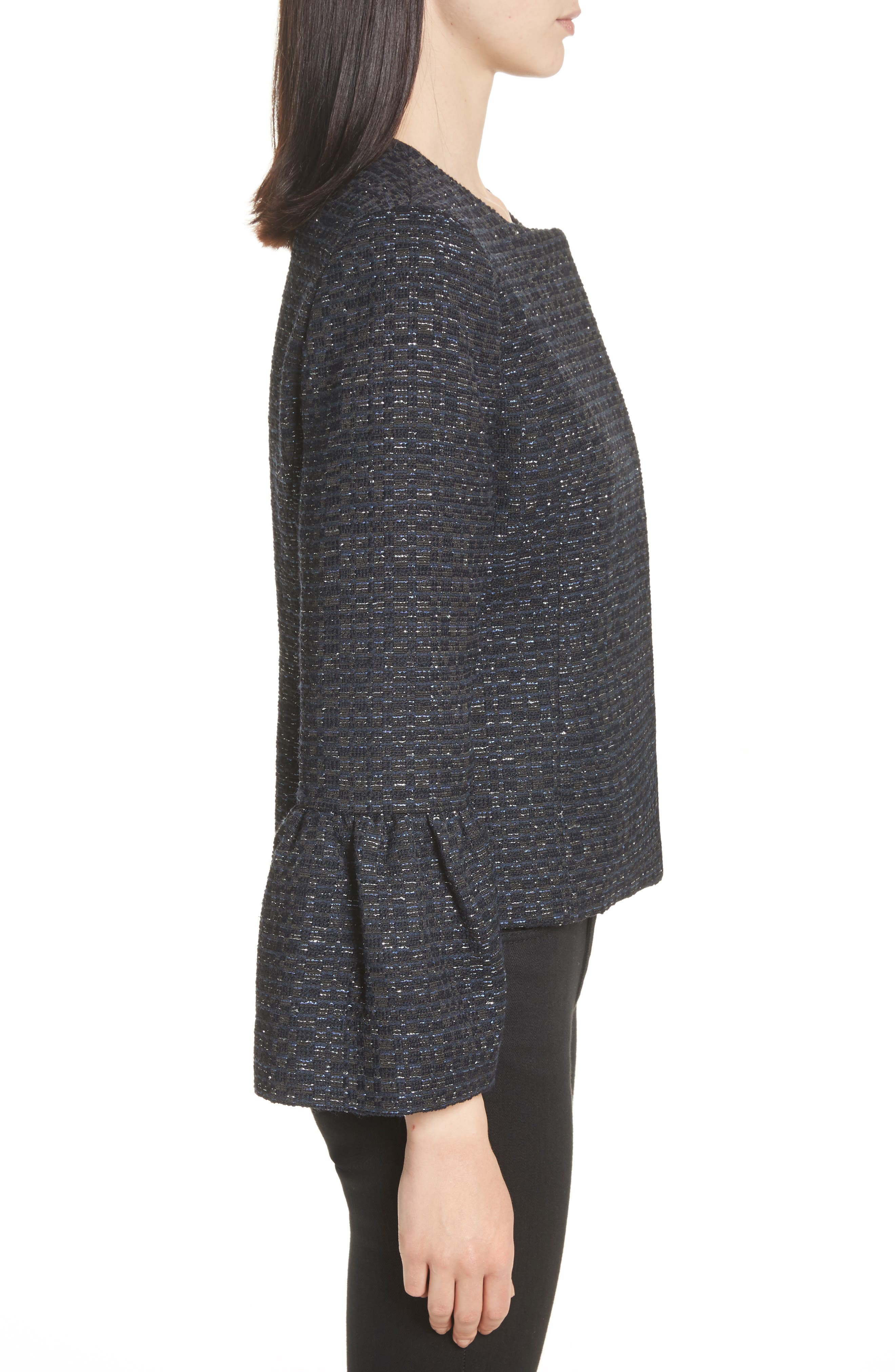 Zoe Bell Cuff Tweed Jacket,                             Alternate thumbnail 3, color,                             400