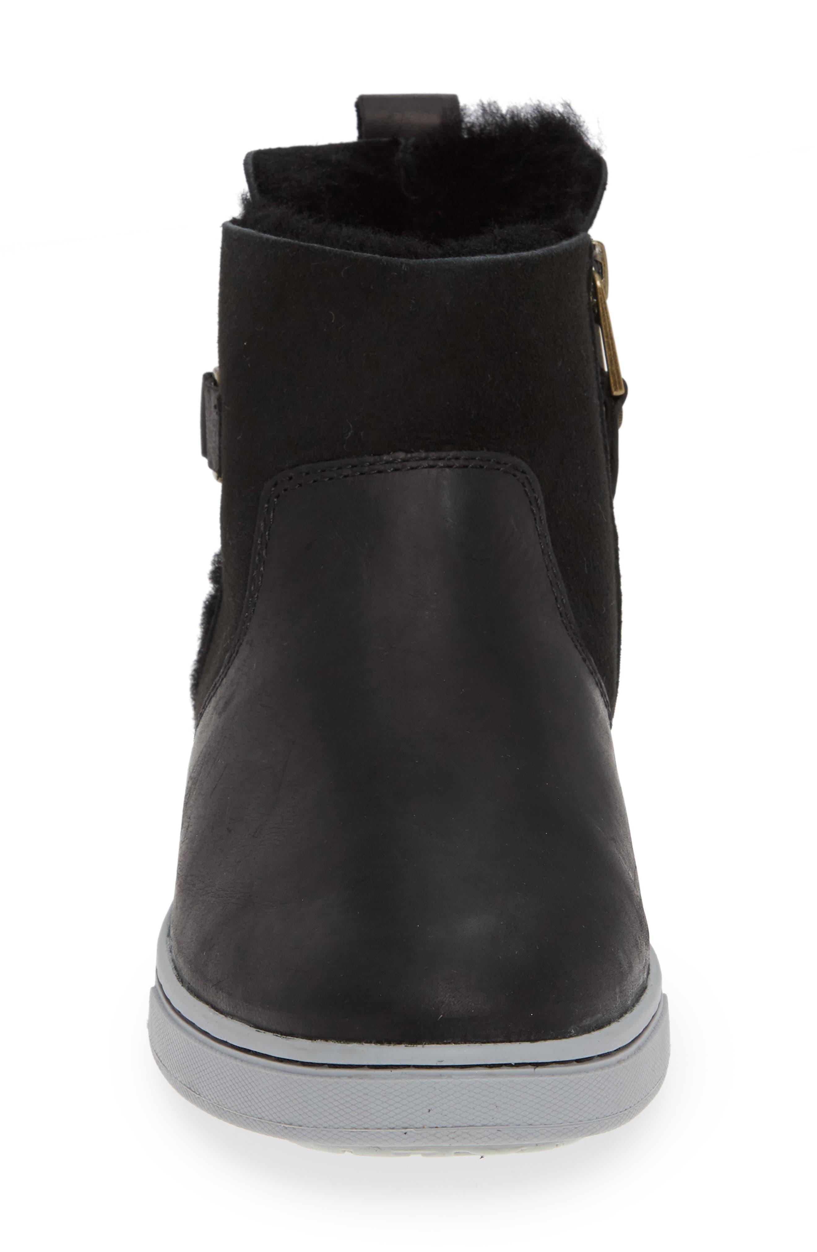 Pehuea Pa'I Genuine Shearling Sneaker Boot,                             Alternate thumbnail 4, color,                             BLACK/ BLACK LEATHER