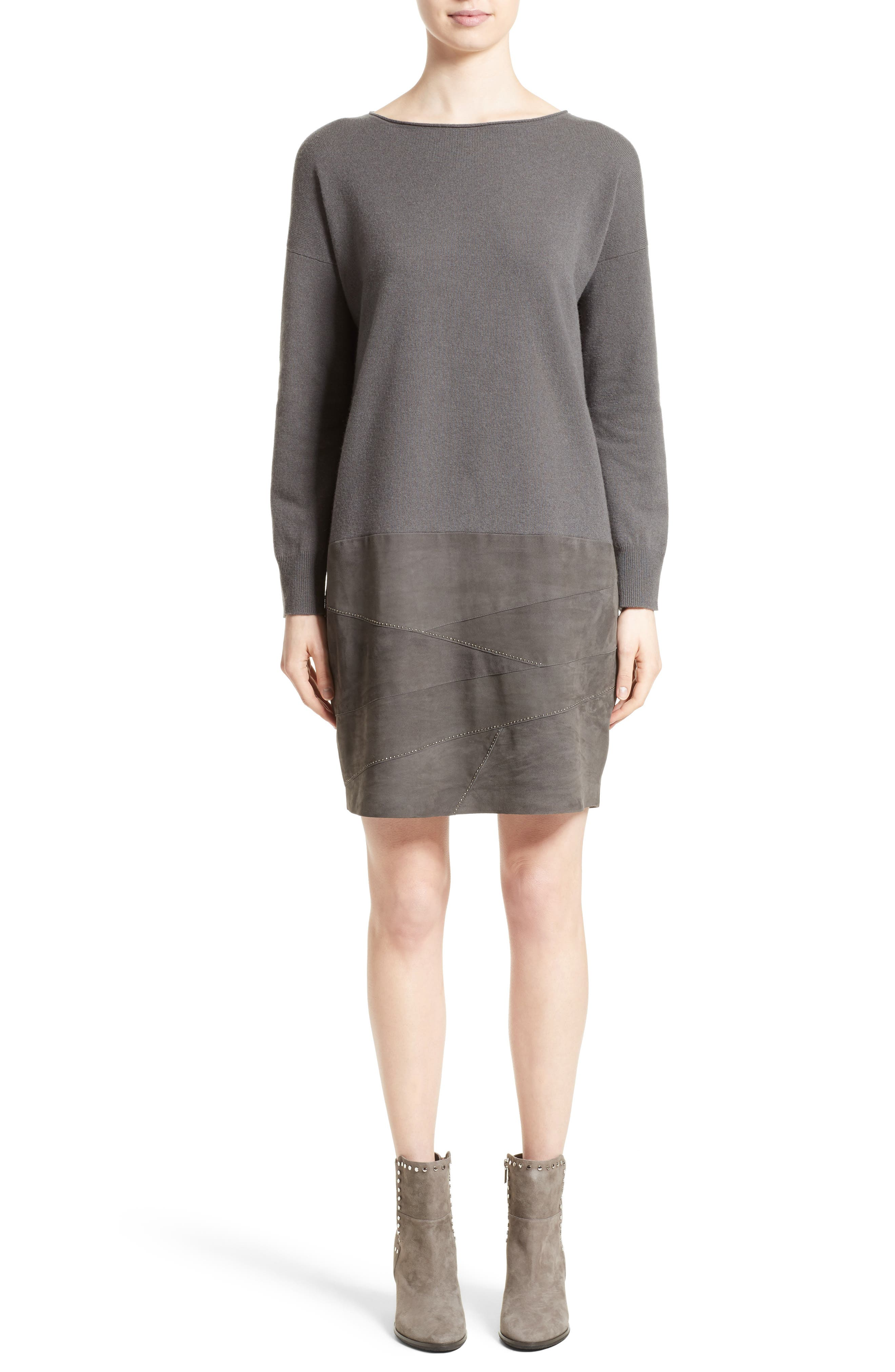 Suede Panel Wool Blend Knit Dress,                         Main,                         color, 021