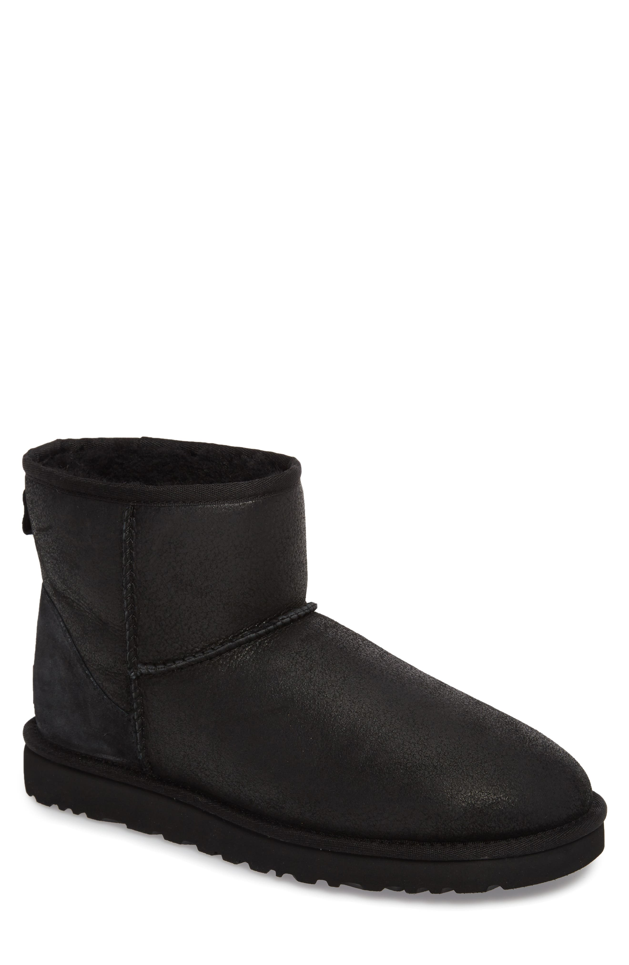 Classic Mini Bomber Boot with Genuine Shearling or UGGpure<sup>™</sup> Lining,                         Main,                         color, BOMBER JACKET BLACK