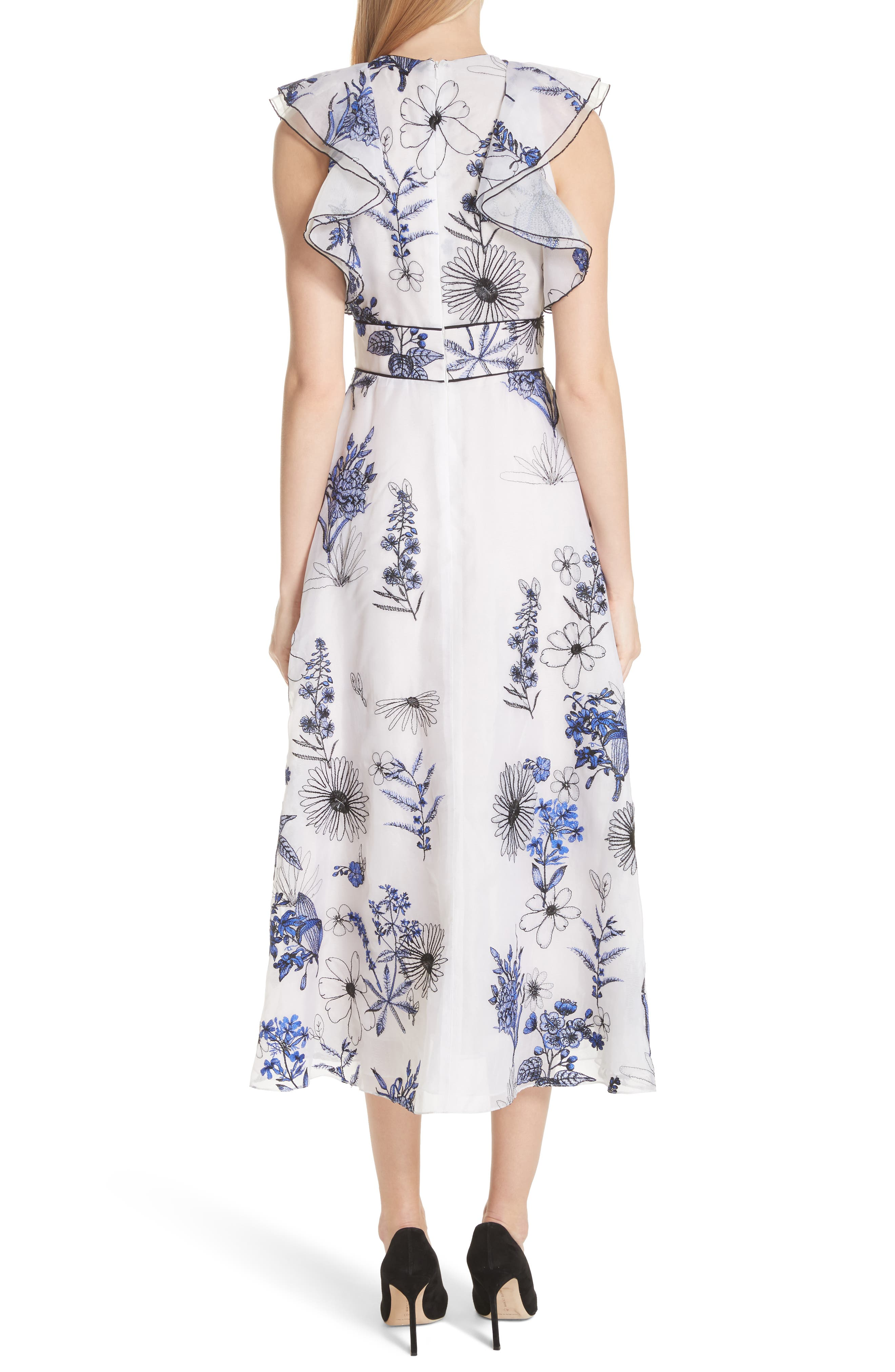 Embroidered Silk Ruffle Midi Dress,                             Alternate thumbnail 2, color,                             400