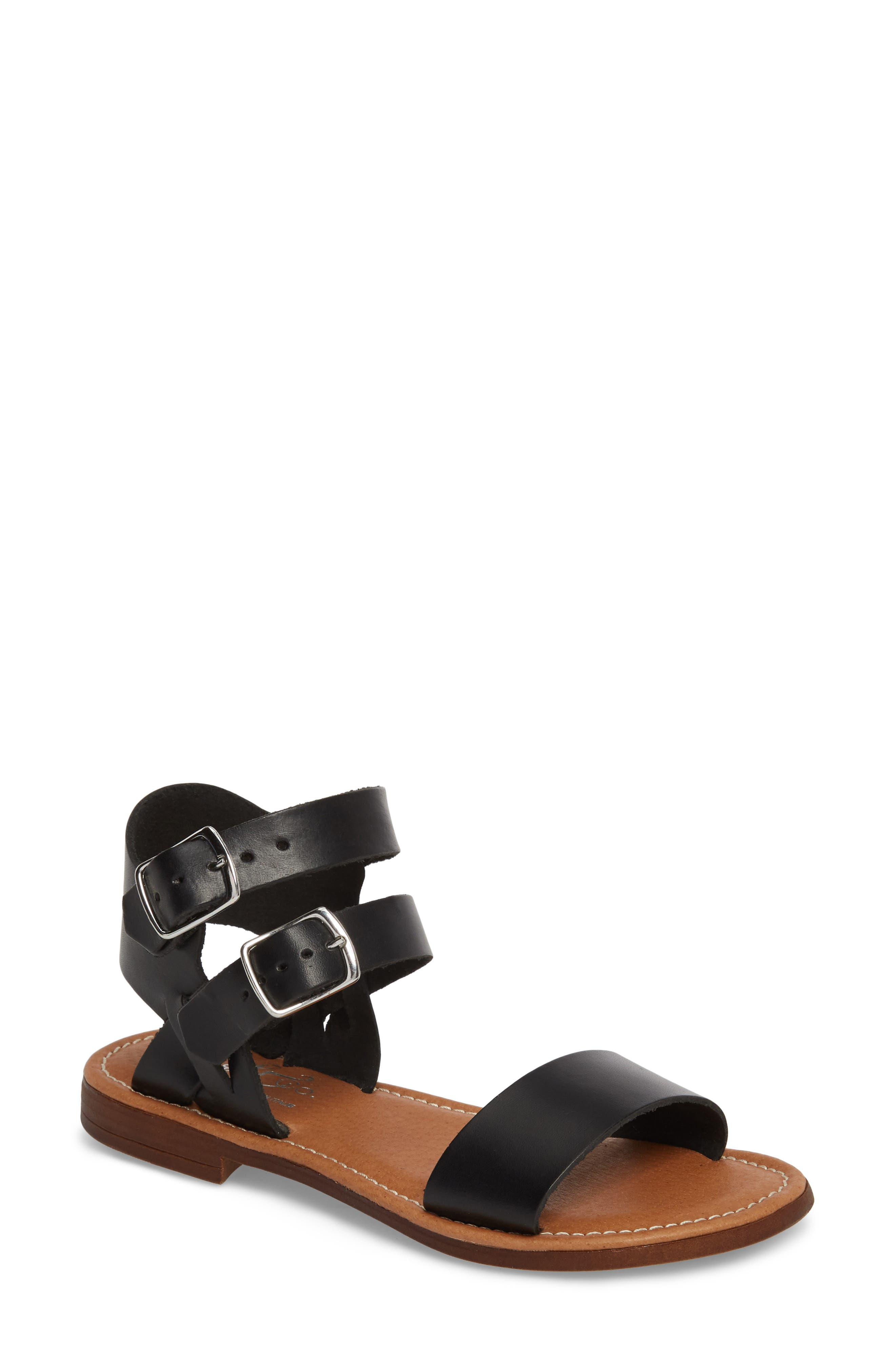 Ida Mid Top Sandal,                         Main,                         color, BLACK VACCHETTA LEATHER