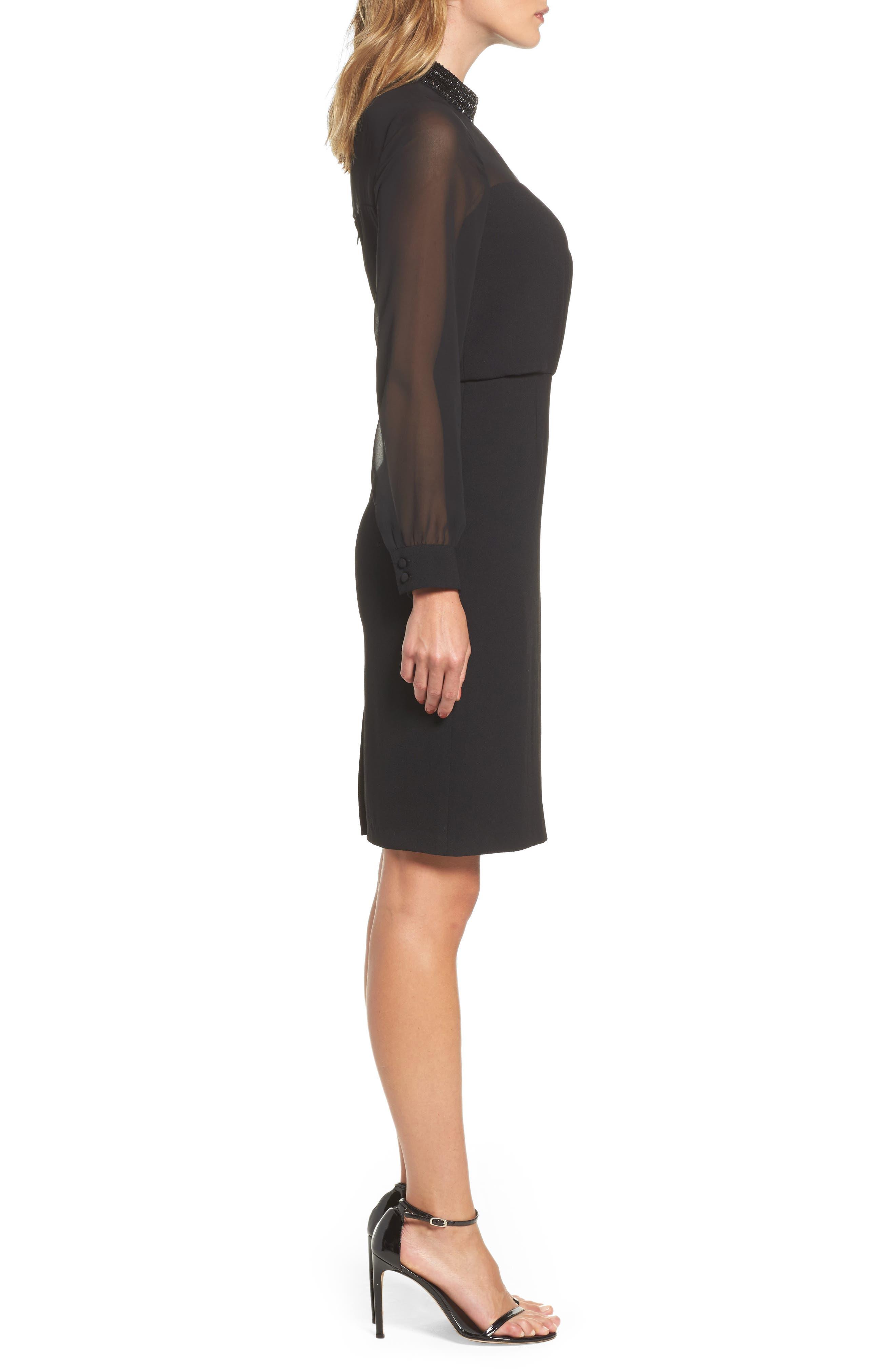 Jewel Neck Sheath Dress,                             Alternate thumbnail 3, color,                             002