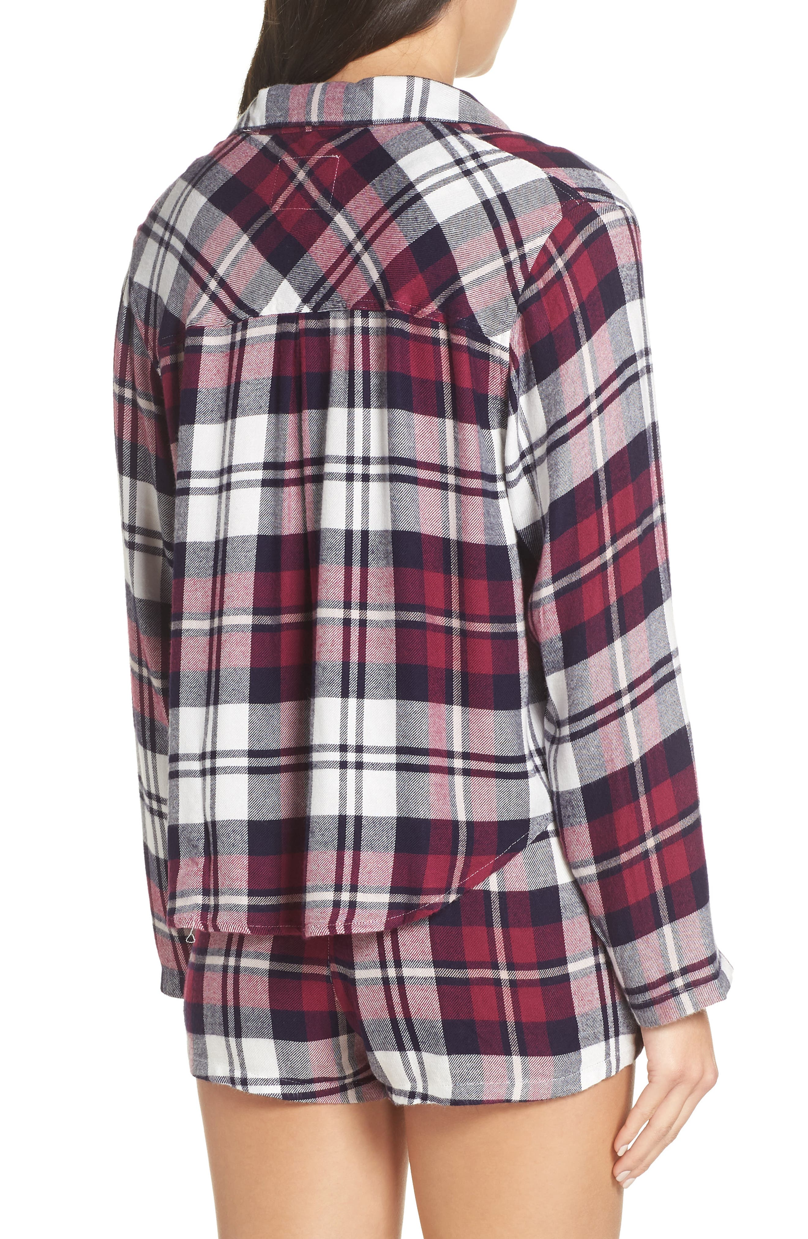 Plaid Short Pajamas,                             Alternate thumbnail 2, color,                             MULBERRY NAVY WHITE