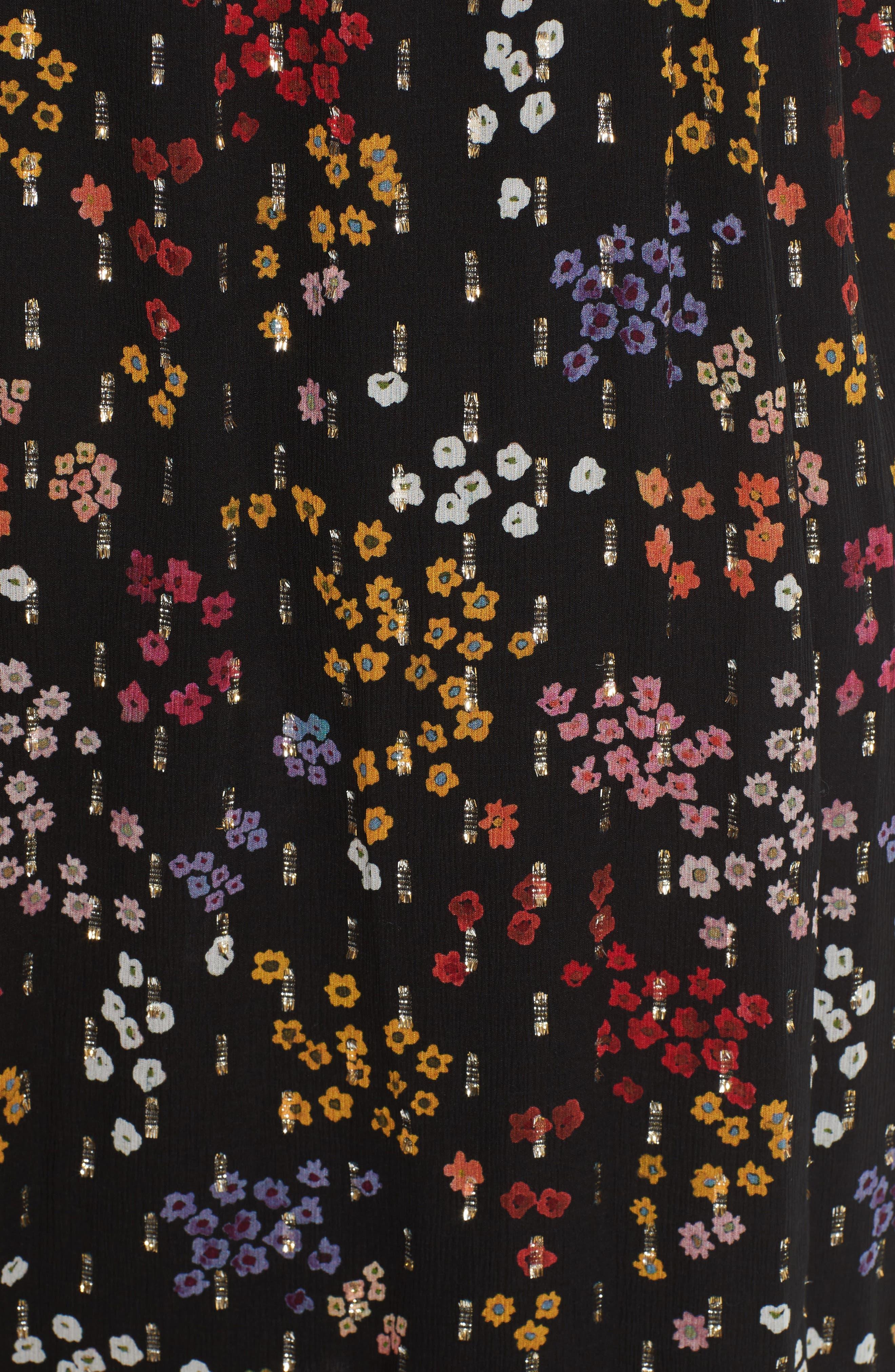 Floral Print Metallic Silk Midi Dress,                             Alternate thumbnail 5, color,                             001