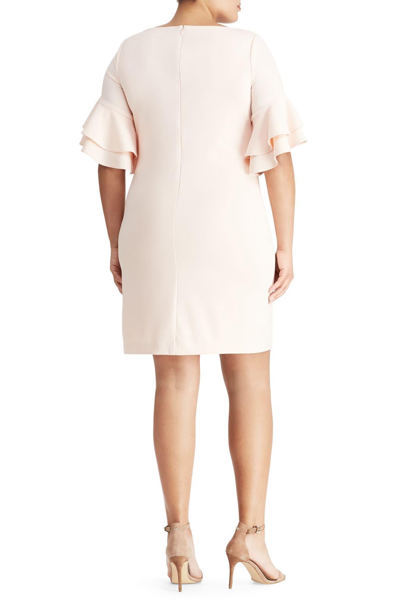 Ruffle Sleeve Crepe Dress,                             Alternate thumbnail 2, color,