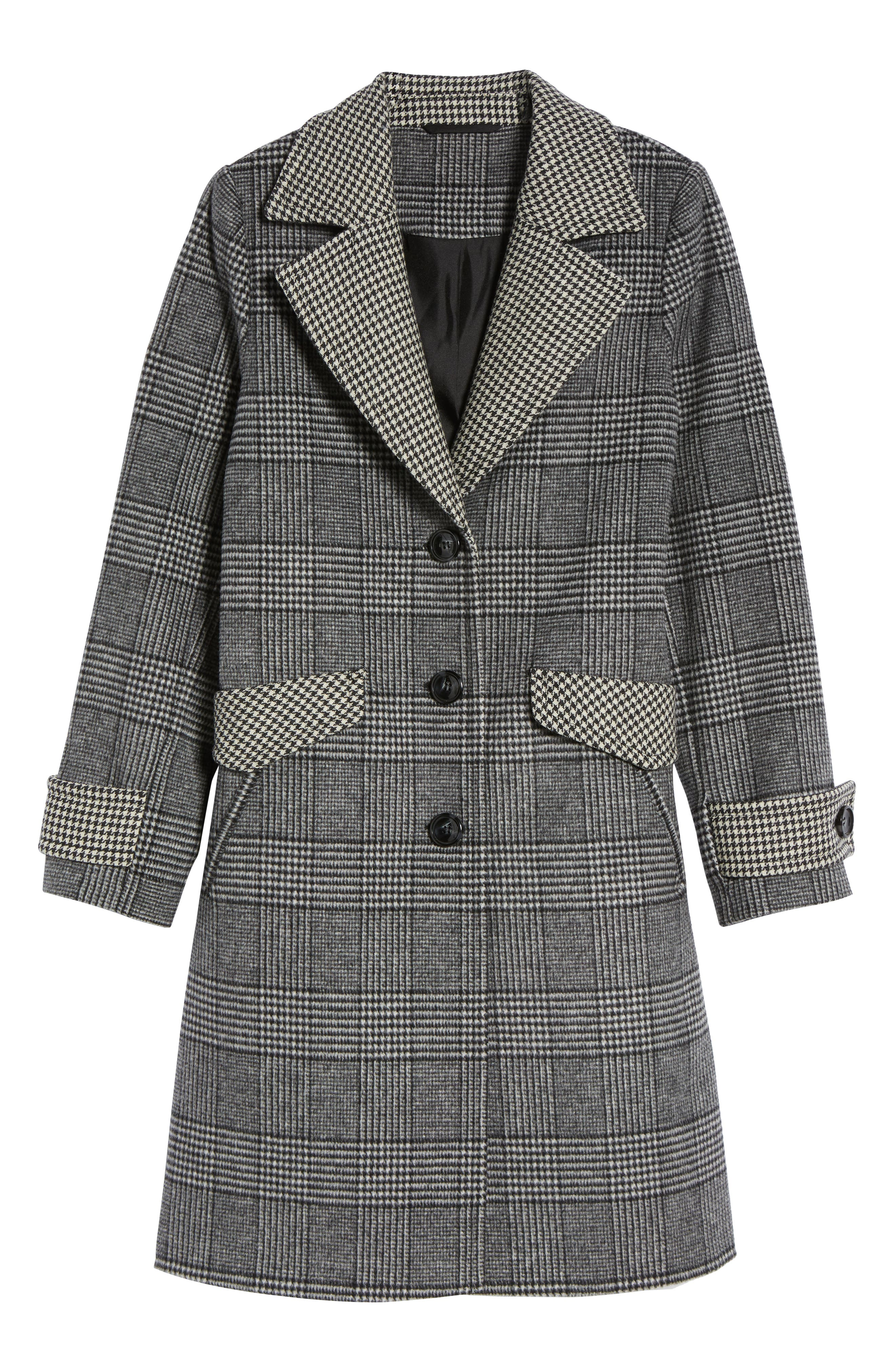 Plaid Mix Wool Coat,                             Alternate thumbnail 6, color,                             001