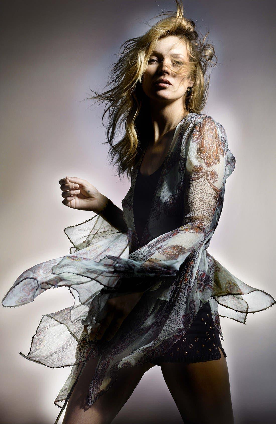 Kate Moss for Topshop Draped Paisley Tie Blouse,                             Alternate thumbnail 4, color,