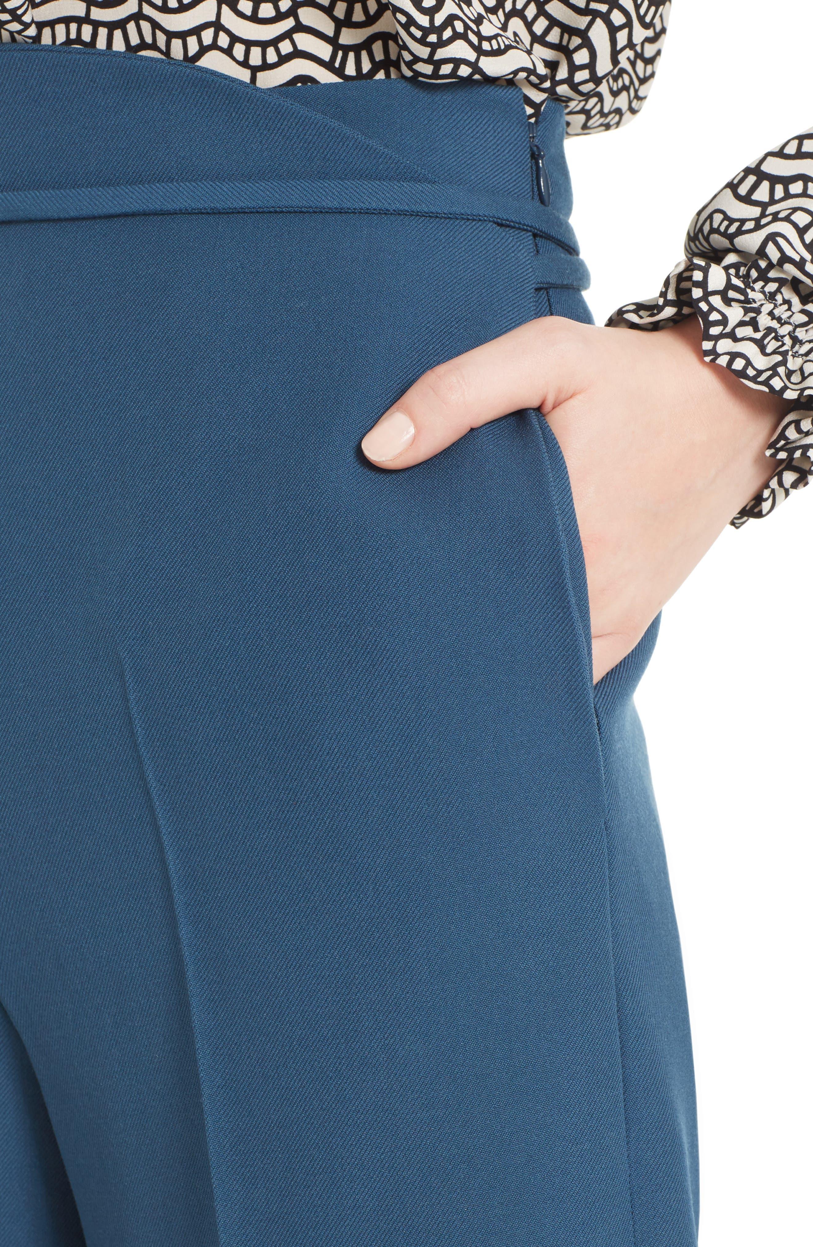 Tie Waist Crop Wool Pants,                             Alternate thumbnail 4, color,