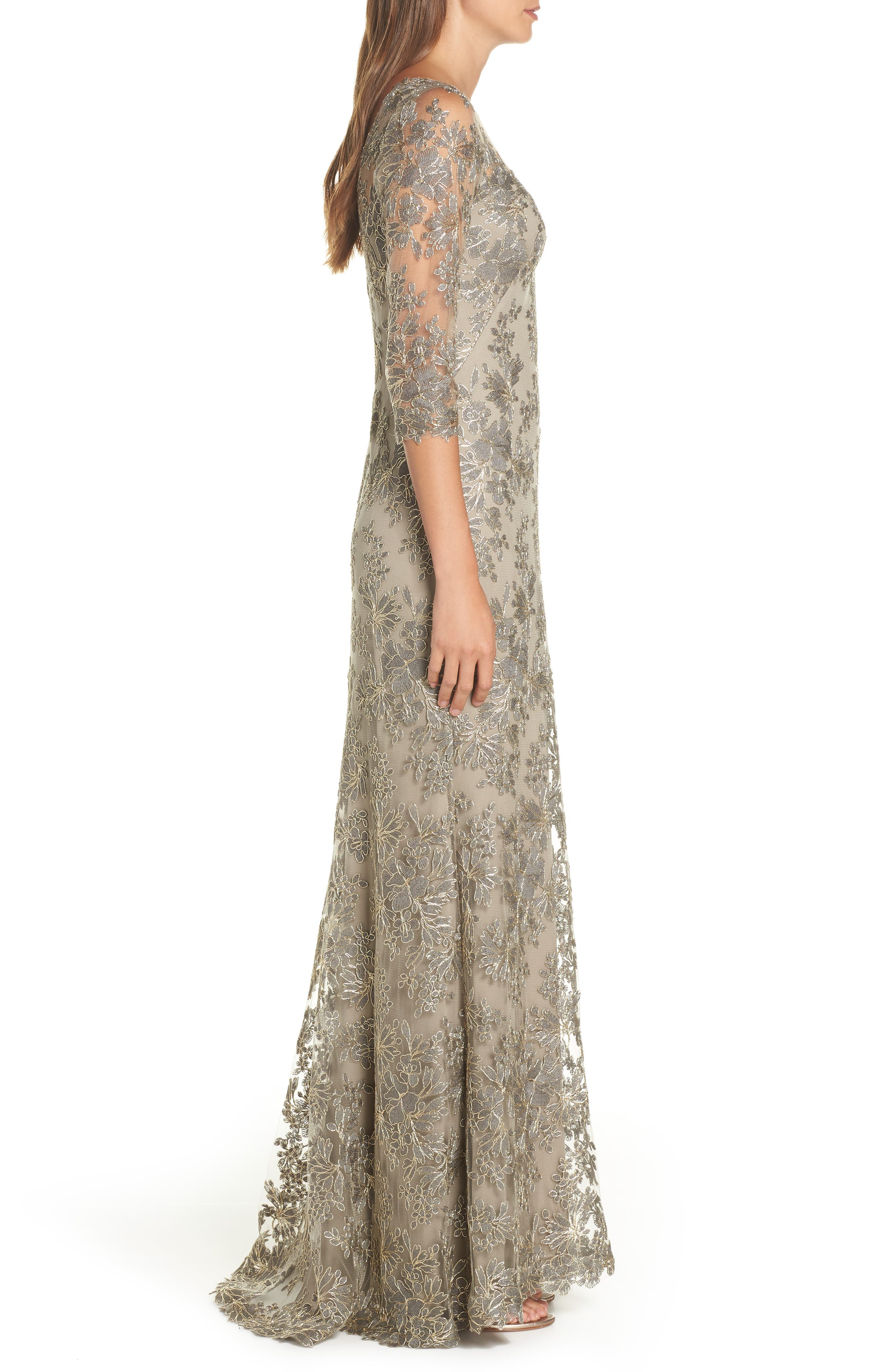 TADASHI SHOJI, Corded Embroidered Lace Gown, Alternate thumbnail 4, color, SMOKE PEARL