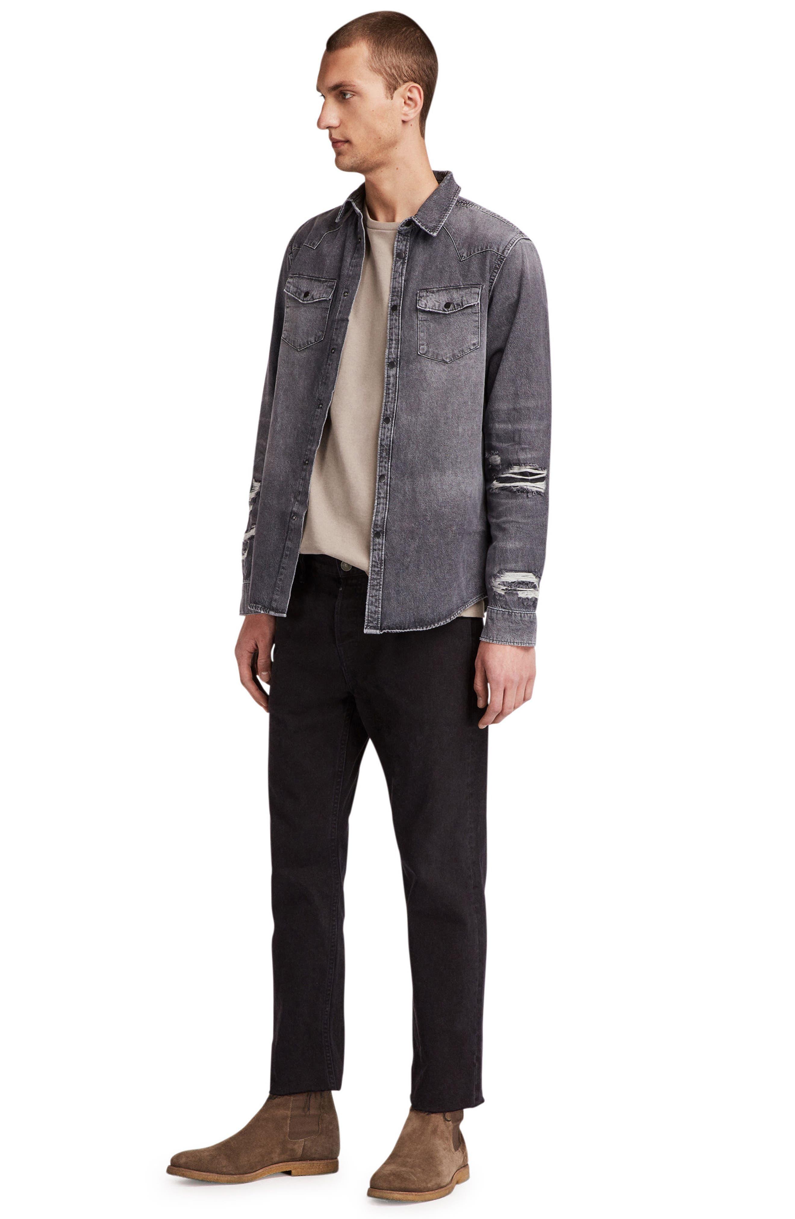 Beegan Distressed Denim Shirt Jacket,                             Alternate thumbnail 4, color,                             001