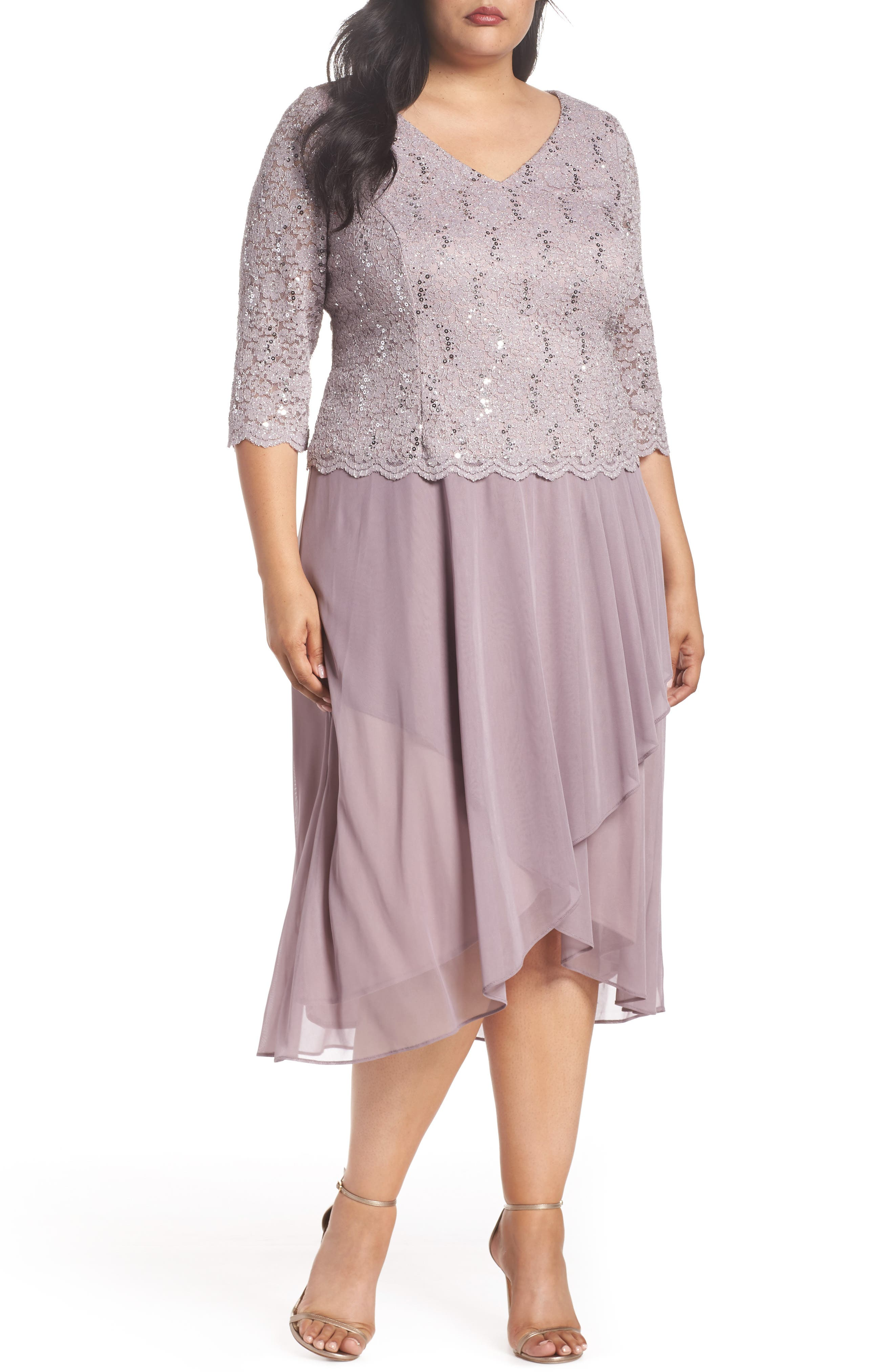 Tea Length Lace & Chiffon Mock Two-Piece Dress,                         Main,                         color, 595