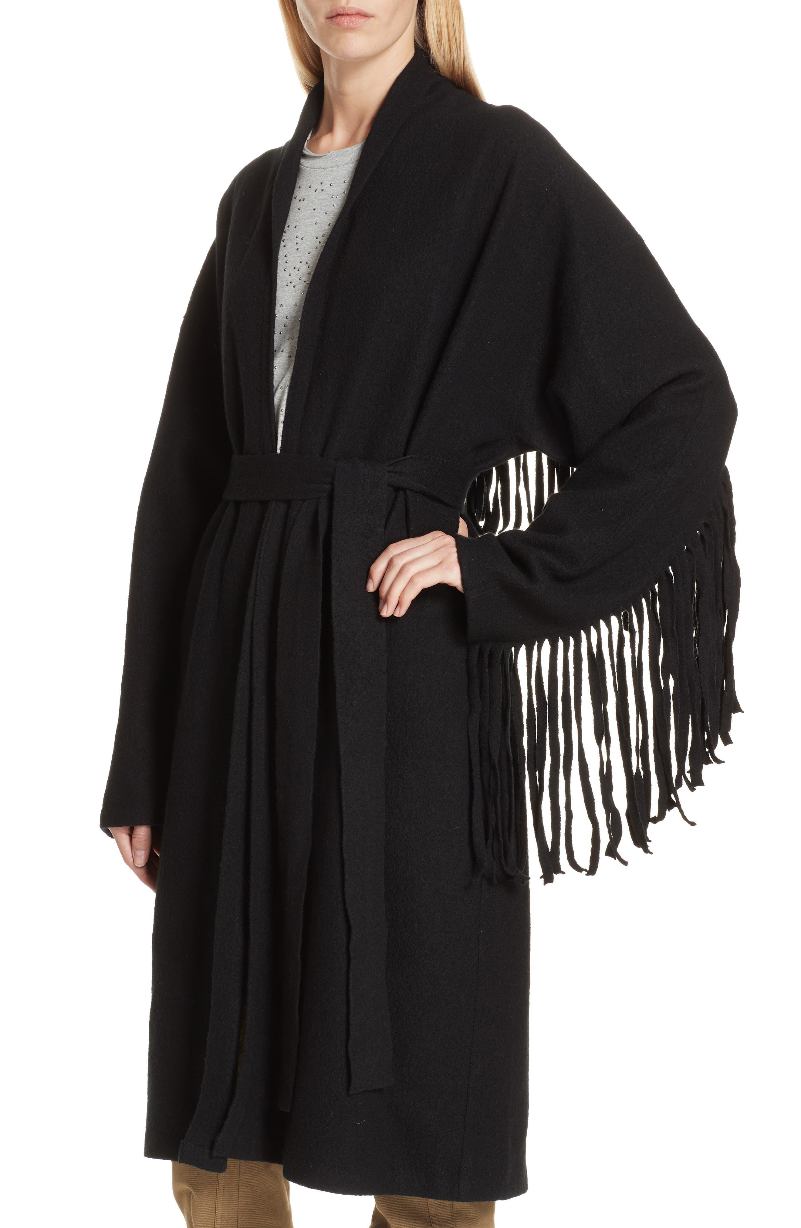 Fringe Detail Boiled Wool & Cashmere Wrap Coat,                             Alternate thumbnail 4, color,                             BLACK