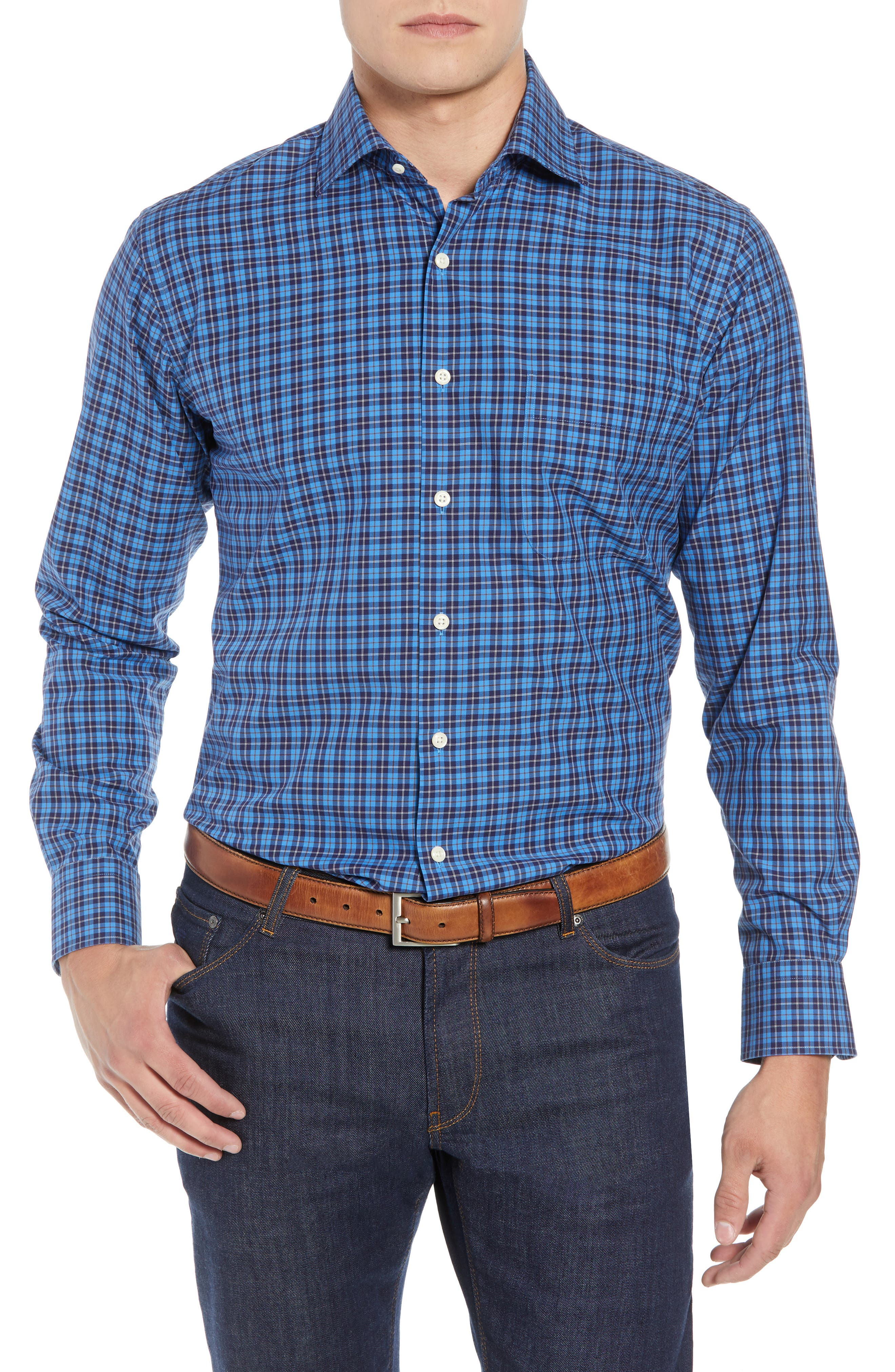 Northgate Plaid Sport Shirt,                         Main,                         color, MARINA BLUE
