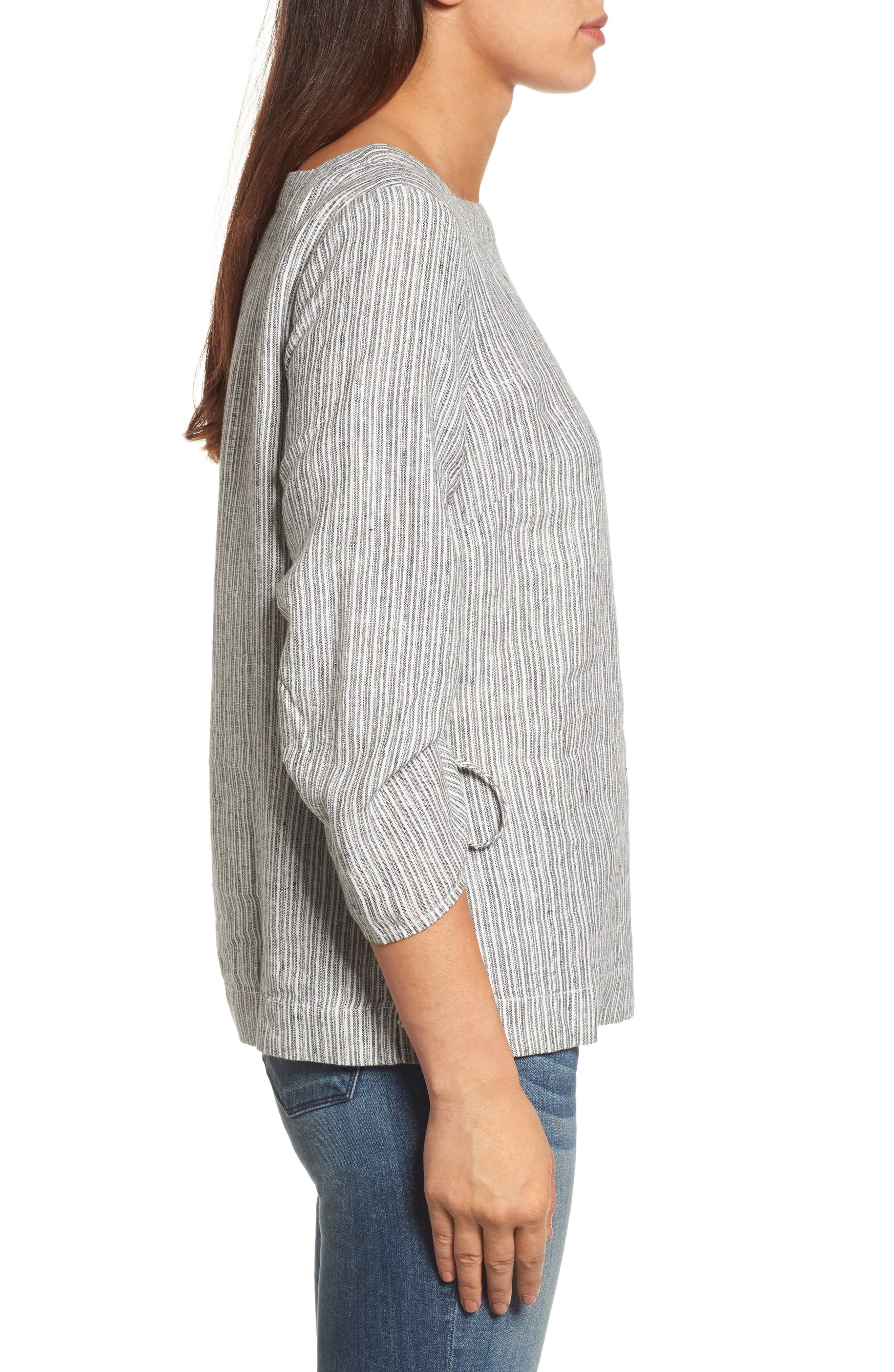 Ruched Sleeve Linen Pullover,                             Alternate thumbnail 9, color,