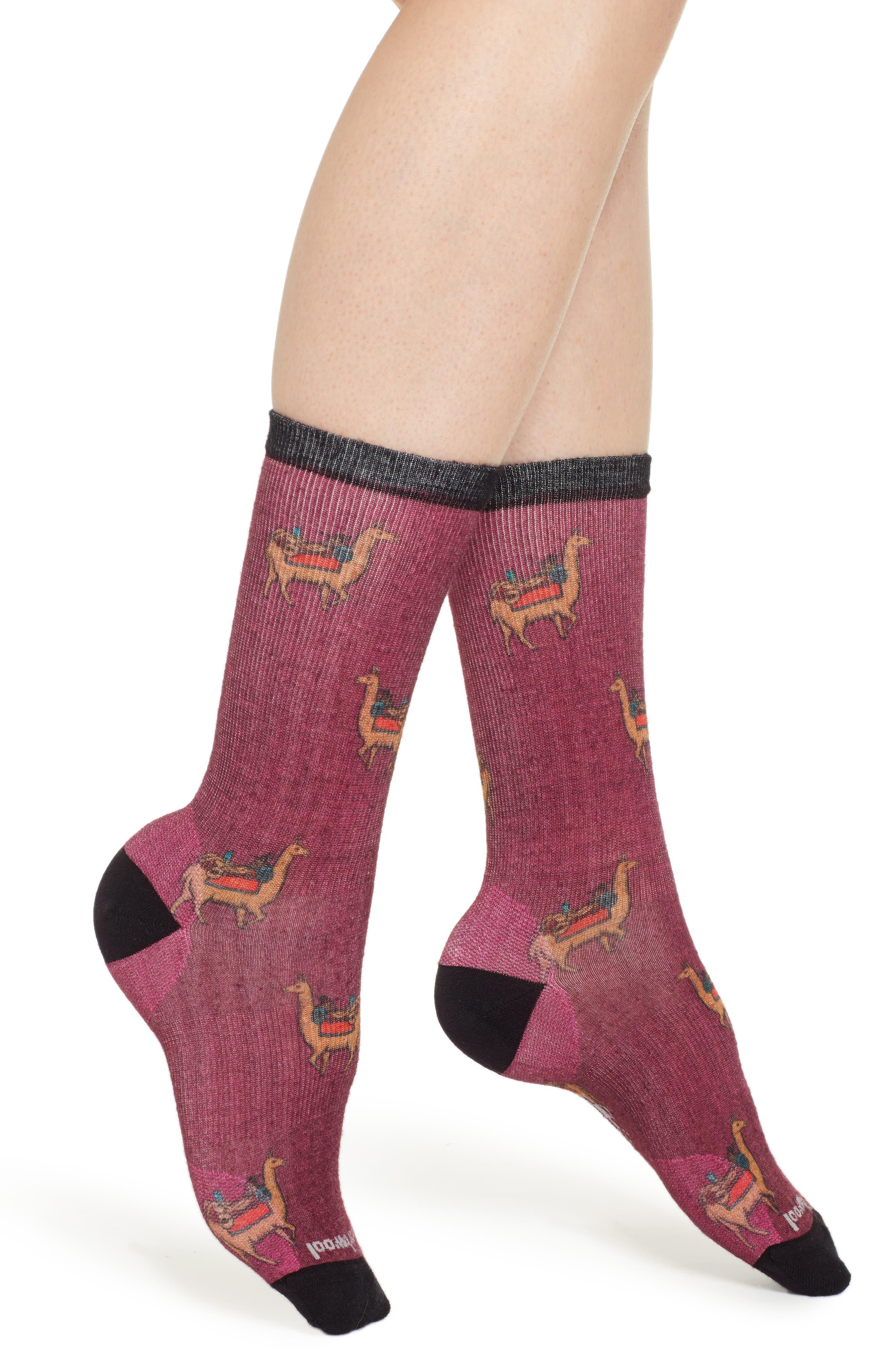 SMARTWOOL Curated Llama Adventures Crew Socks, Main, color, WHITE MULTI