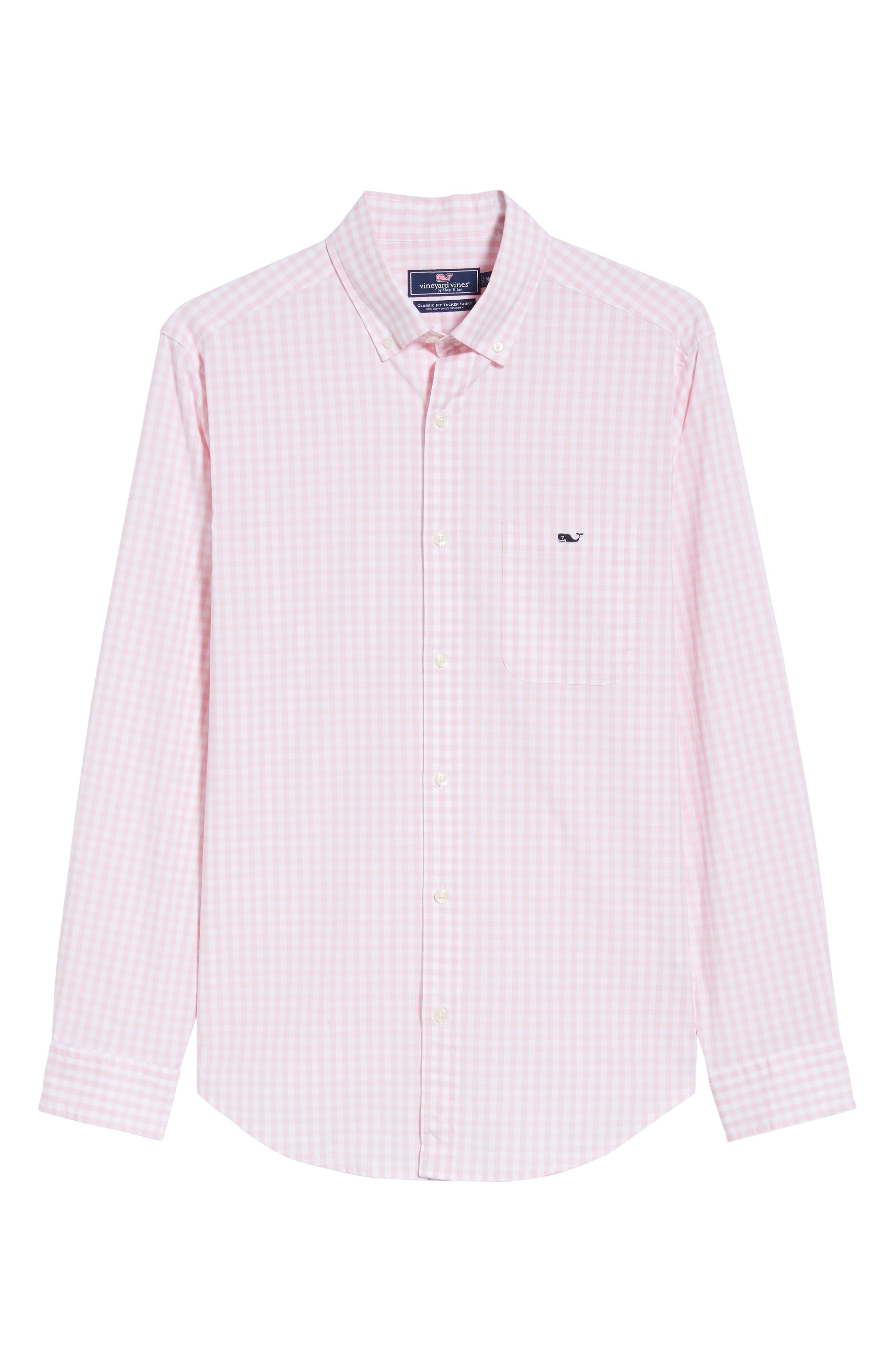 Carleton Classic Fit Gingham Buttondown Shirt,                             Alternate thumbnail 5, color,                             FLAMINGO