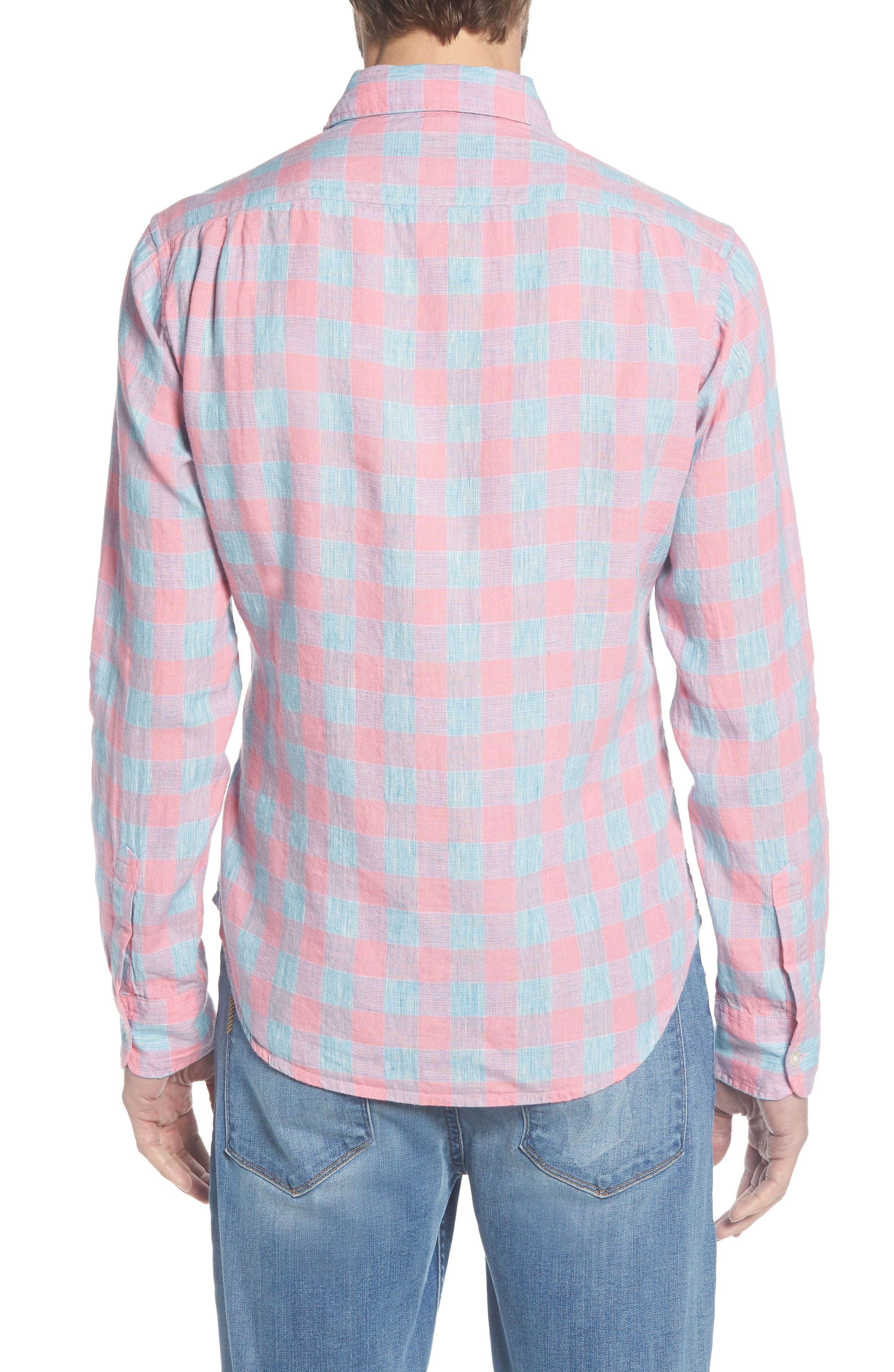 Slim Fit Plaid Linen & Cotton Sport Shirt,                             Alternate thumbnail 2, color,                             650