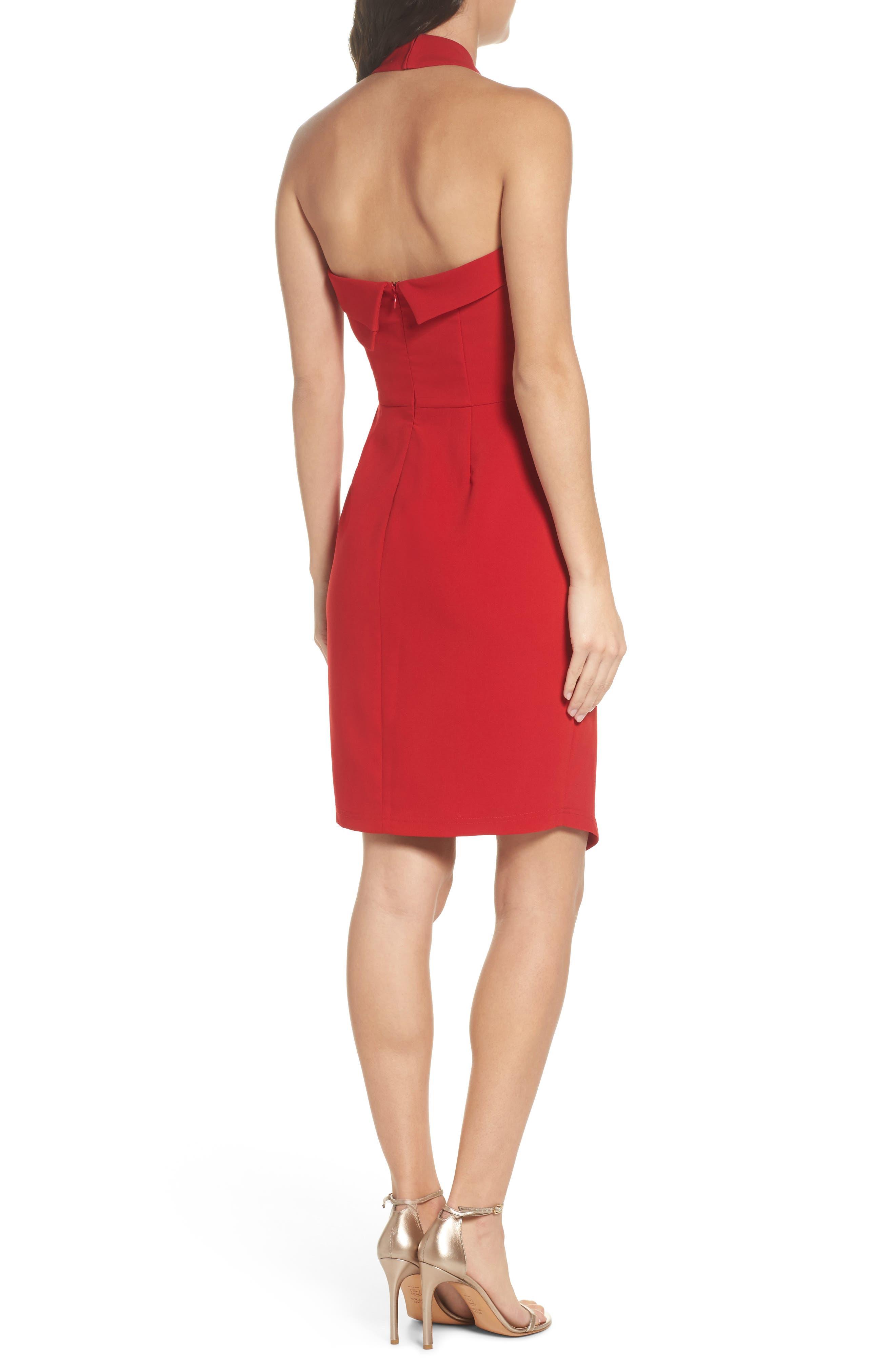 Halter Asymmetrical Sheath Dress,                             Alternate thumbnail 2, color,                             600