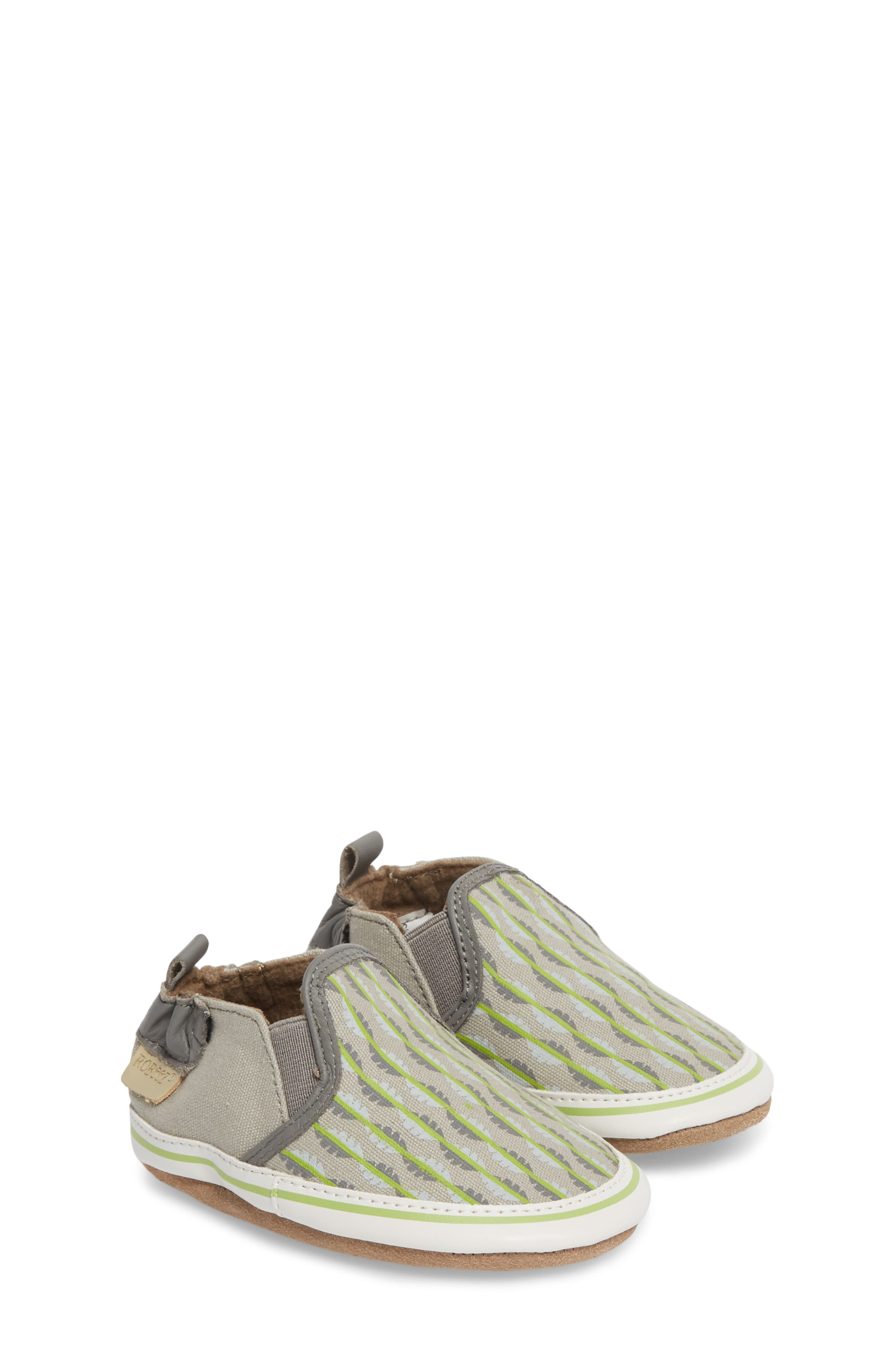 Liam Tropical Print Crib Shoe,                             Main thumbnail 1, color,                             GREY