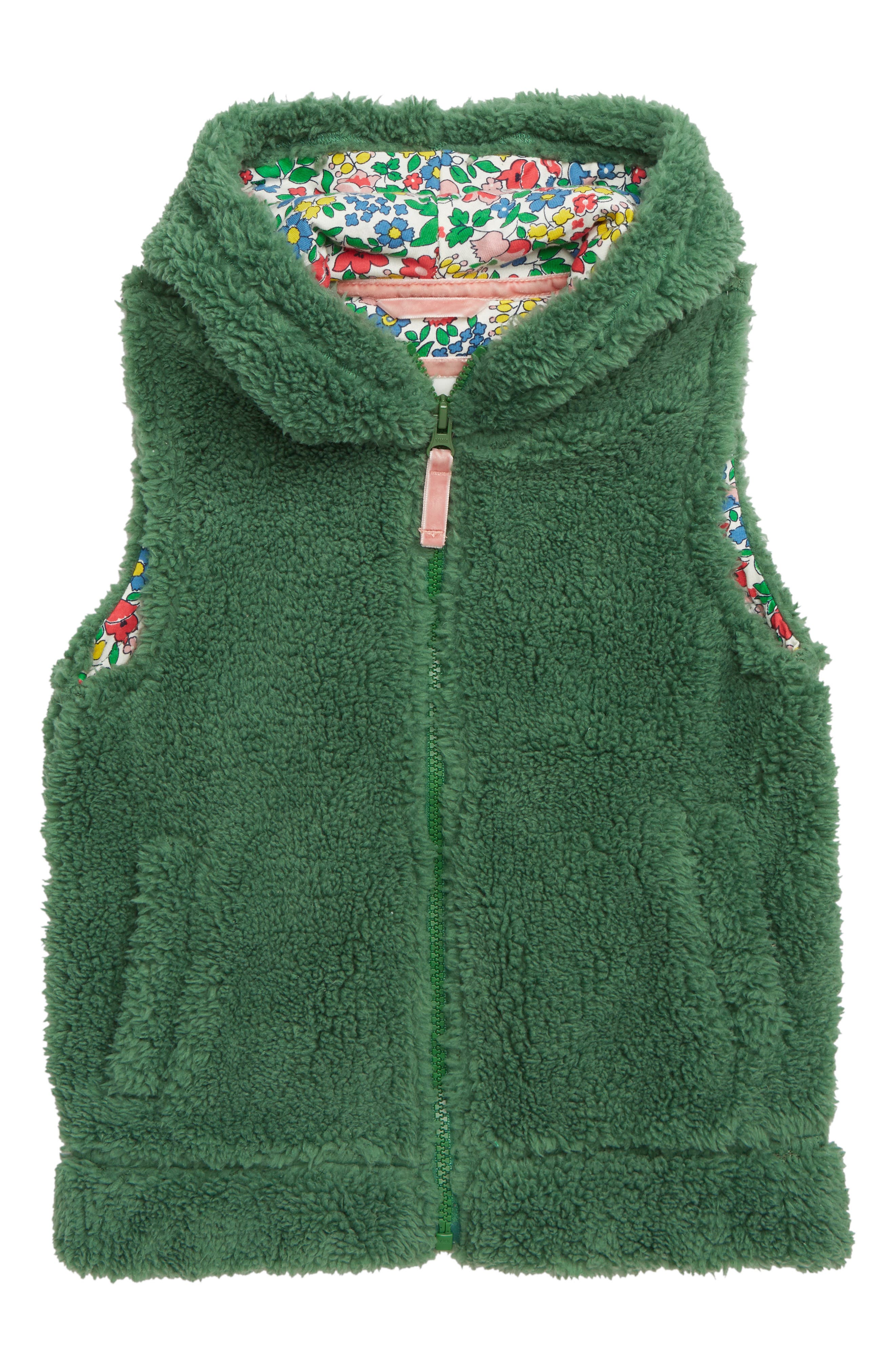Cozy Hooded Vest,                             Main thumbnail 1, color,                             WILLOW GREEN