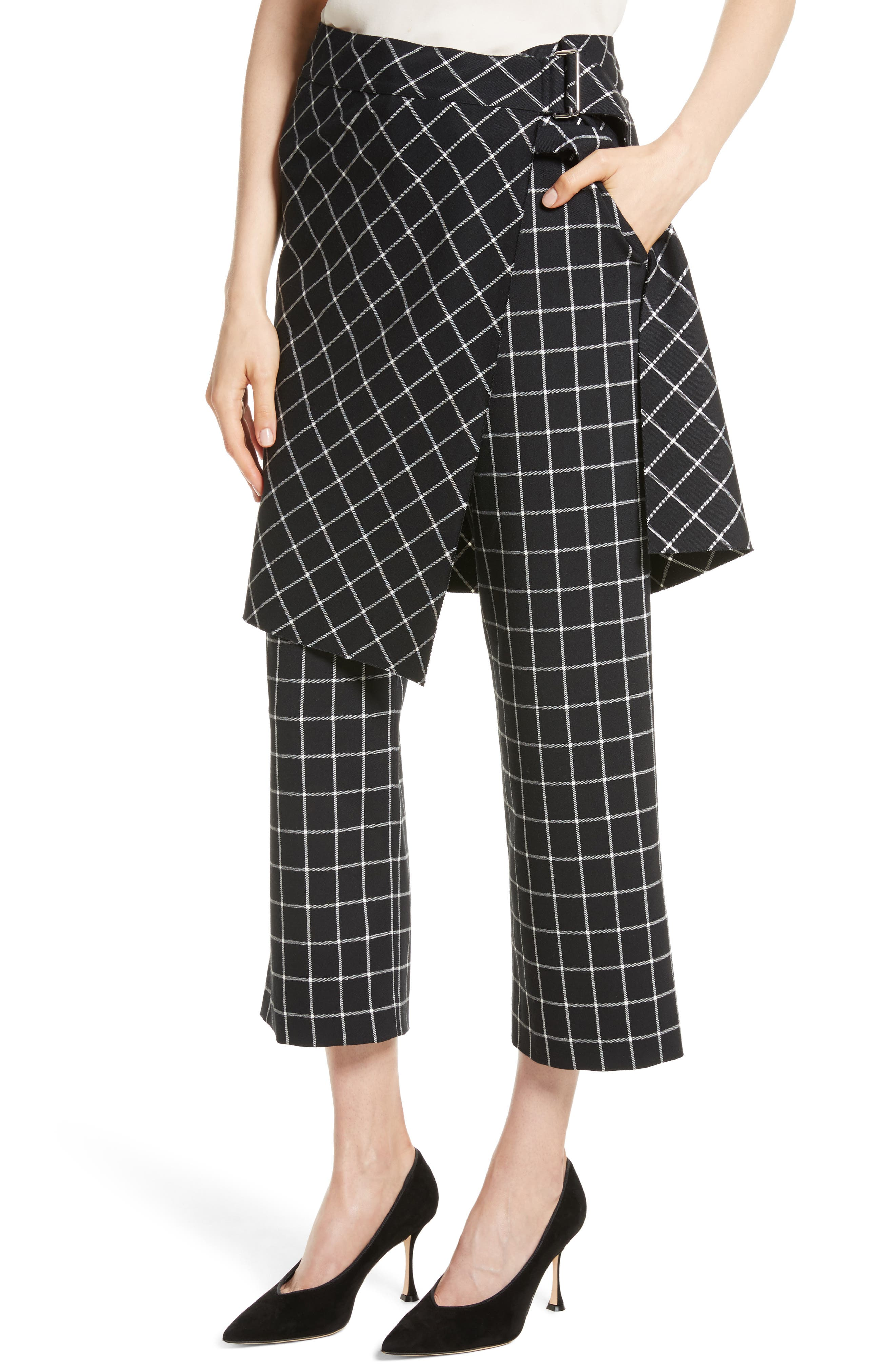 Grid Print Skirted Pants,                             Alternate thumbnail 4, color,                             004