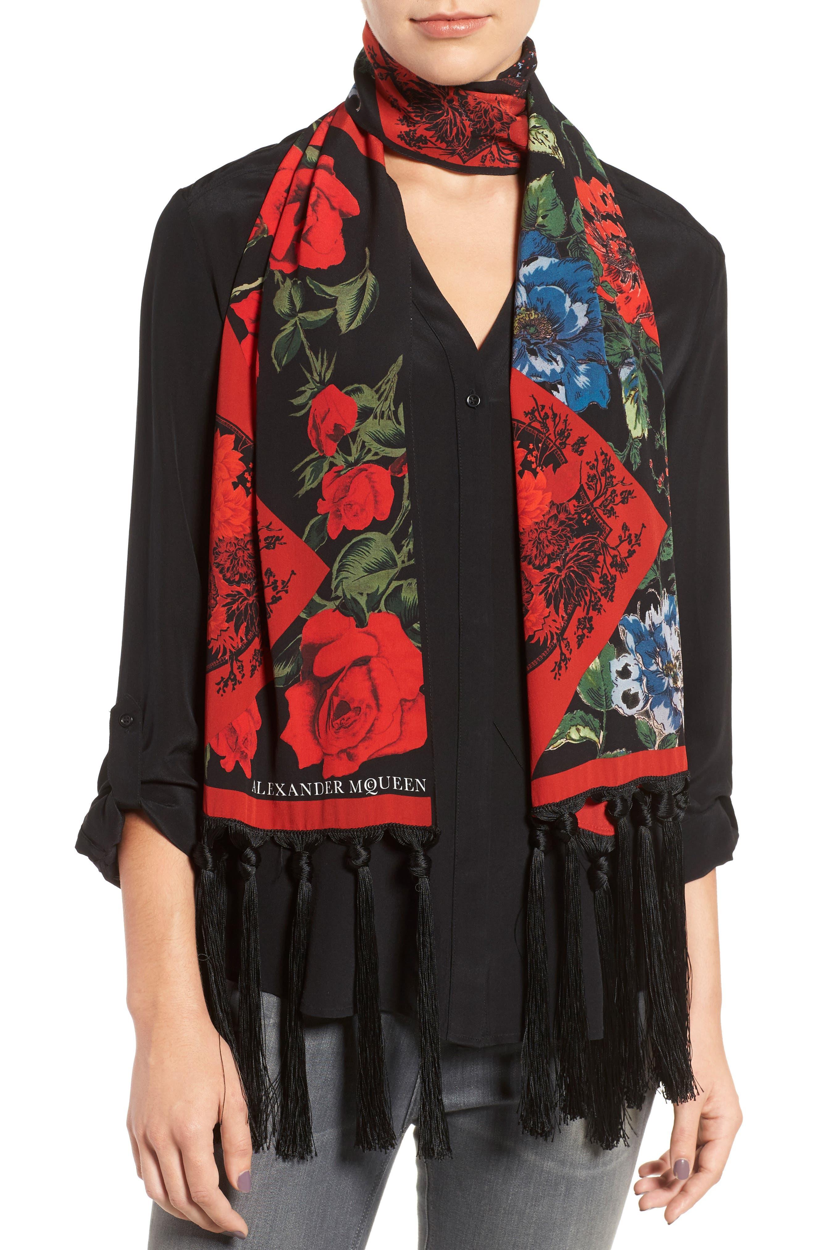 Floral Silk Scarf,                         Main,                         color, 007