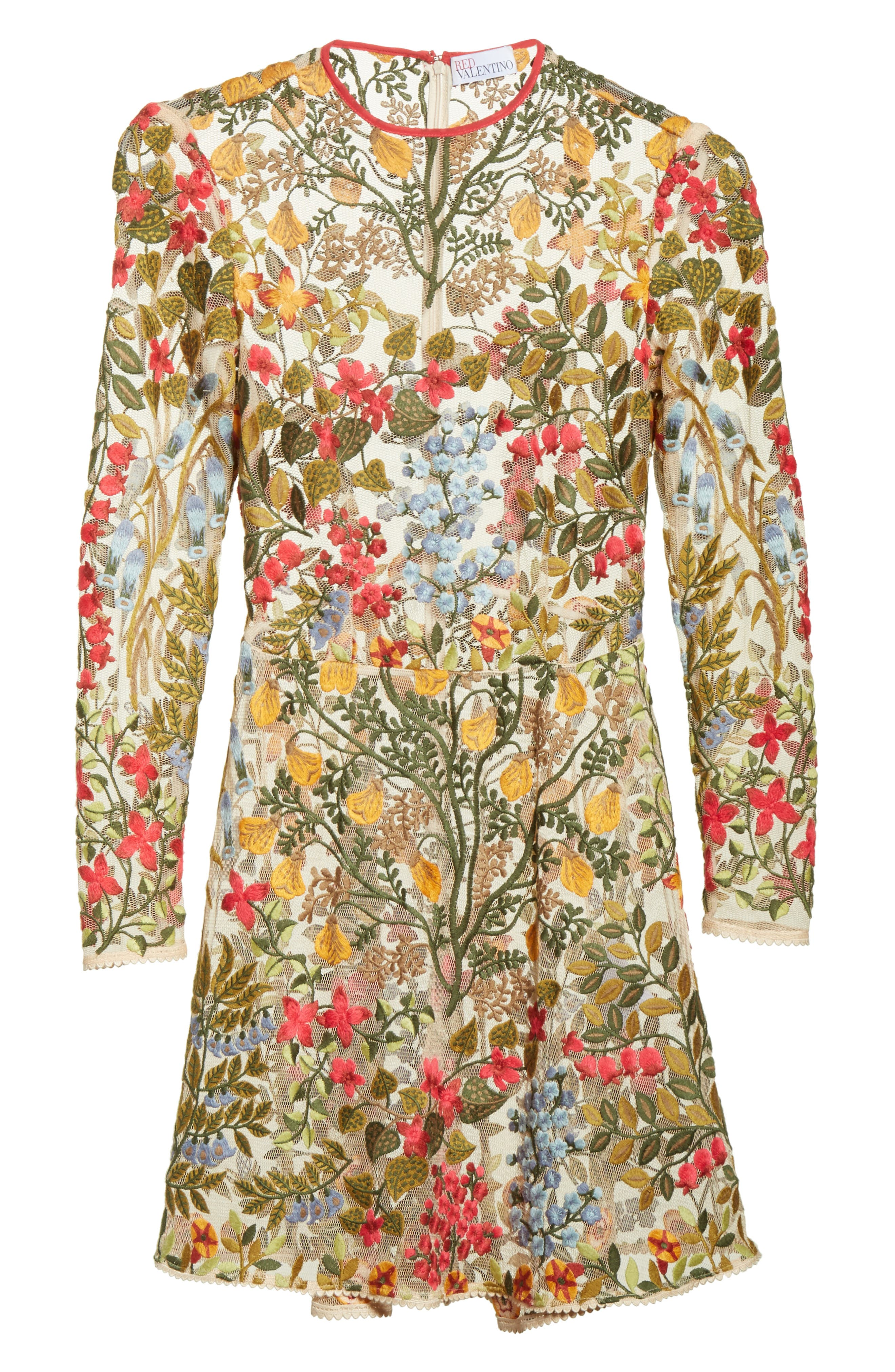 Floral Vine Embroidered Tulle Dress,                             Alternate thumbnail 6, color,
