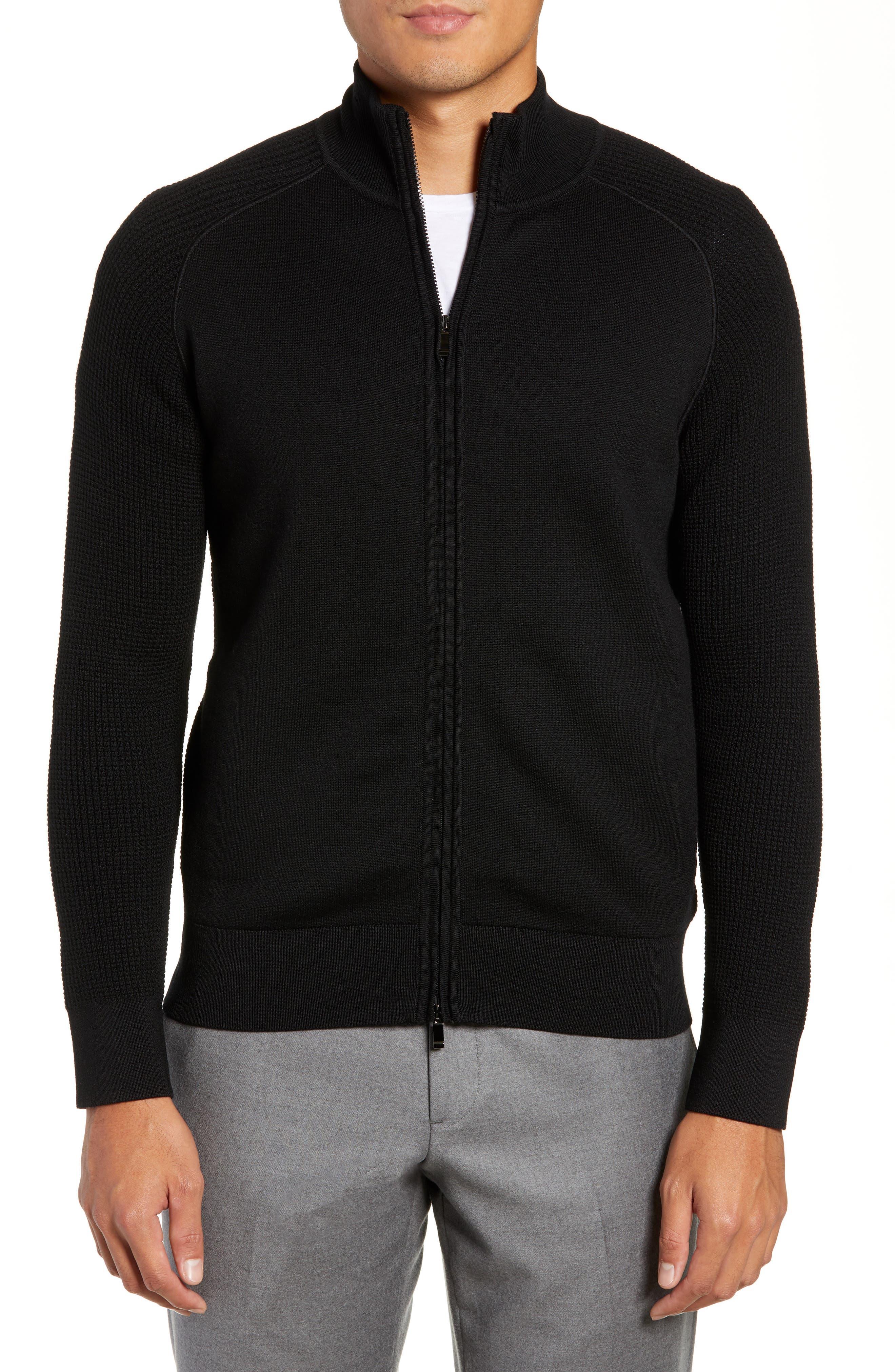 Trim Fit Wool Zip Cardigan,                         Main,                         color, 001