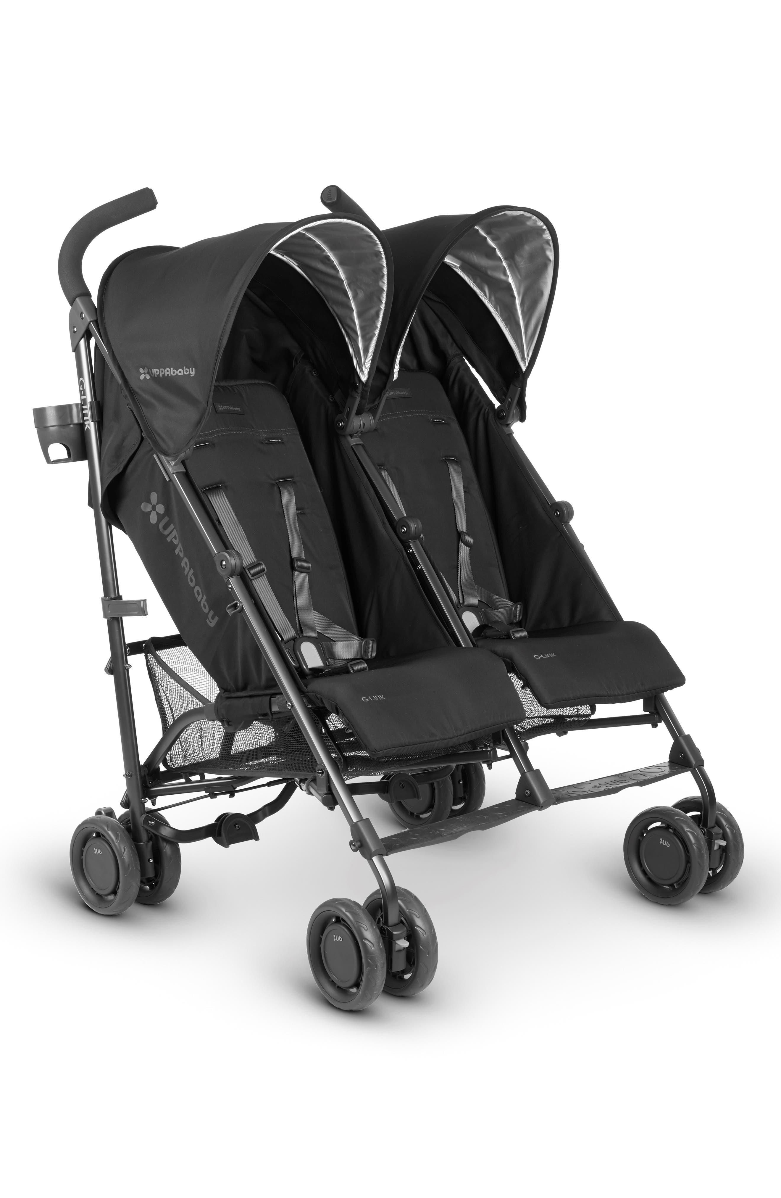 G-LINK Jake Aluminum Frame Reclining Side by Side Umbrella Stroller,                             Alternate thumbnail 2, color,                             black