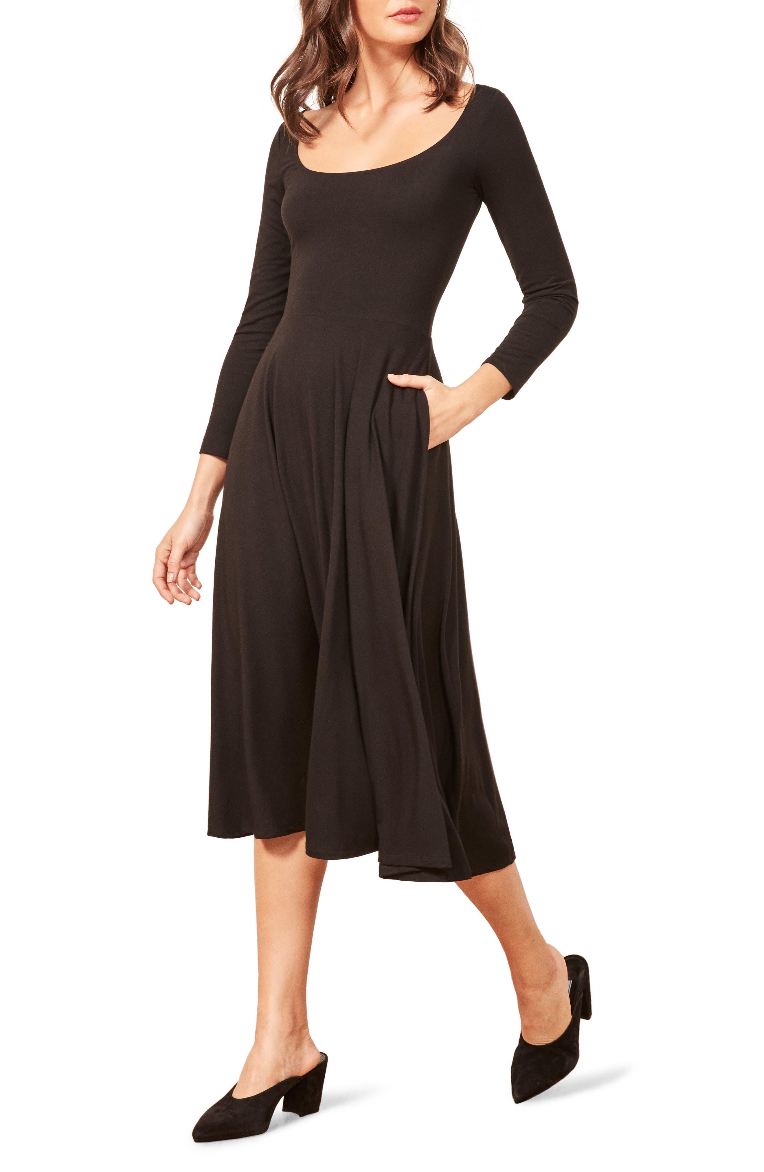 Lou Midi Dress,                         Main,                         color, BLACK