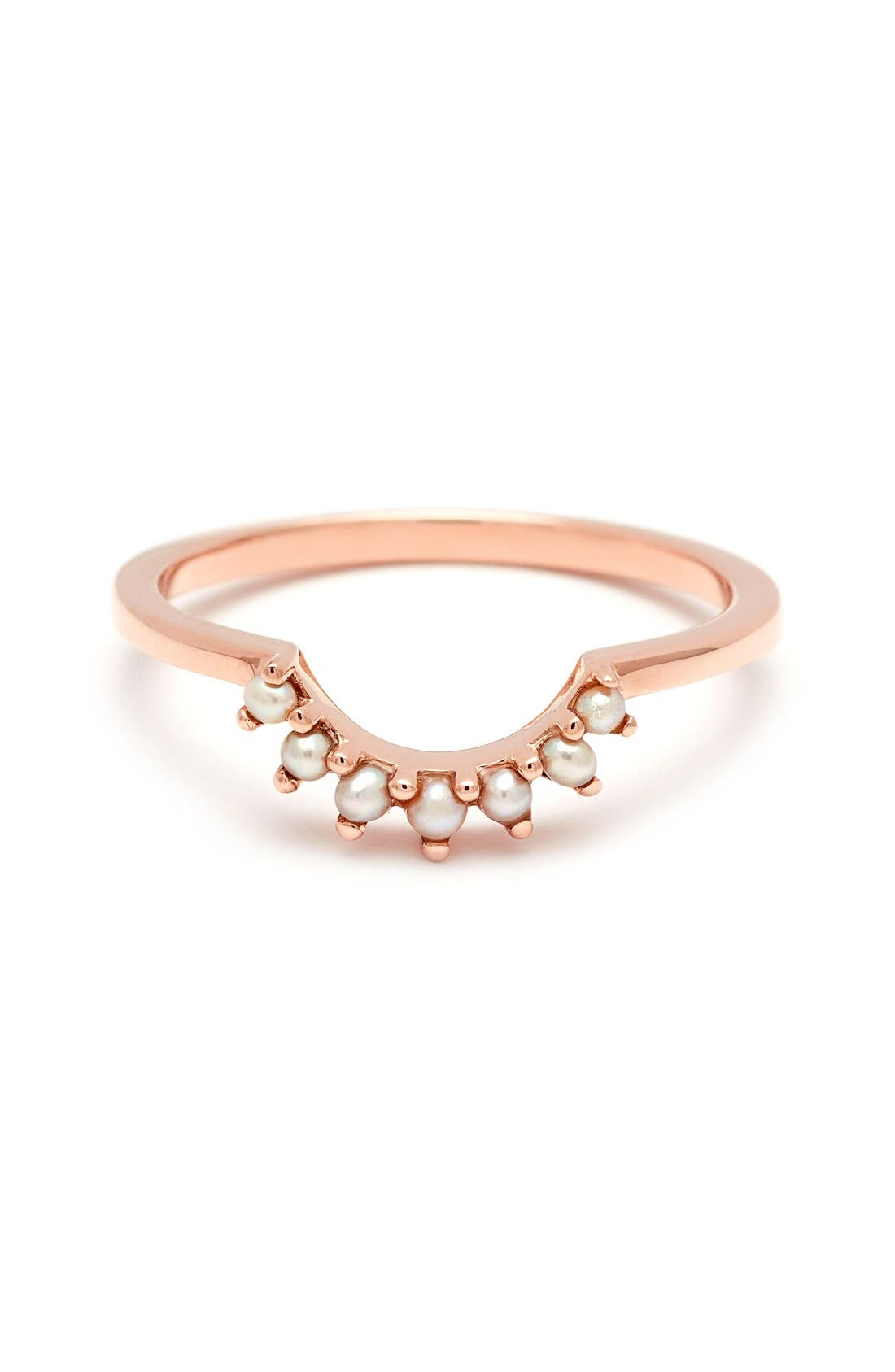 'Grand Tiara' Seed Pearl Ring,                             Main thumbnail 1, color,                             ROSE/ GOLD/ CHAMPAGNE