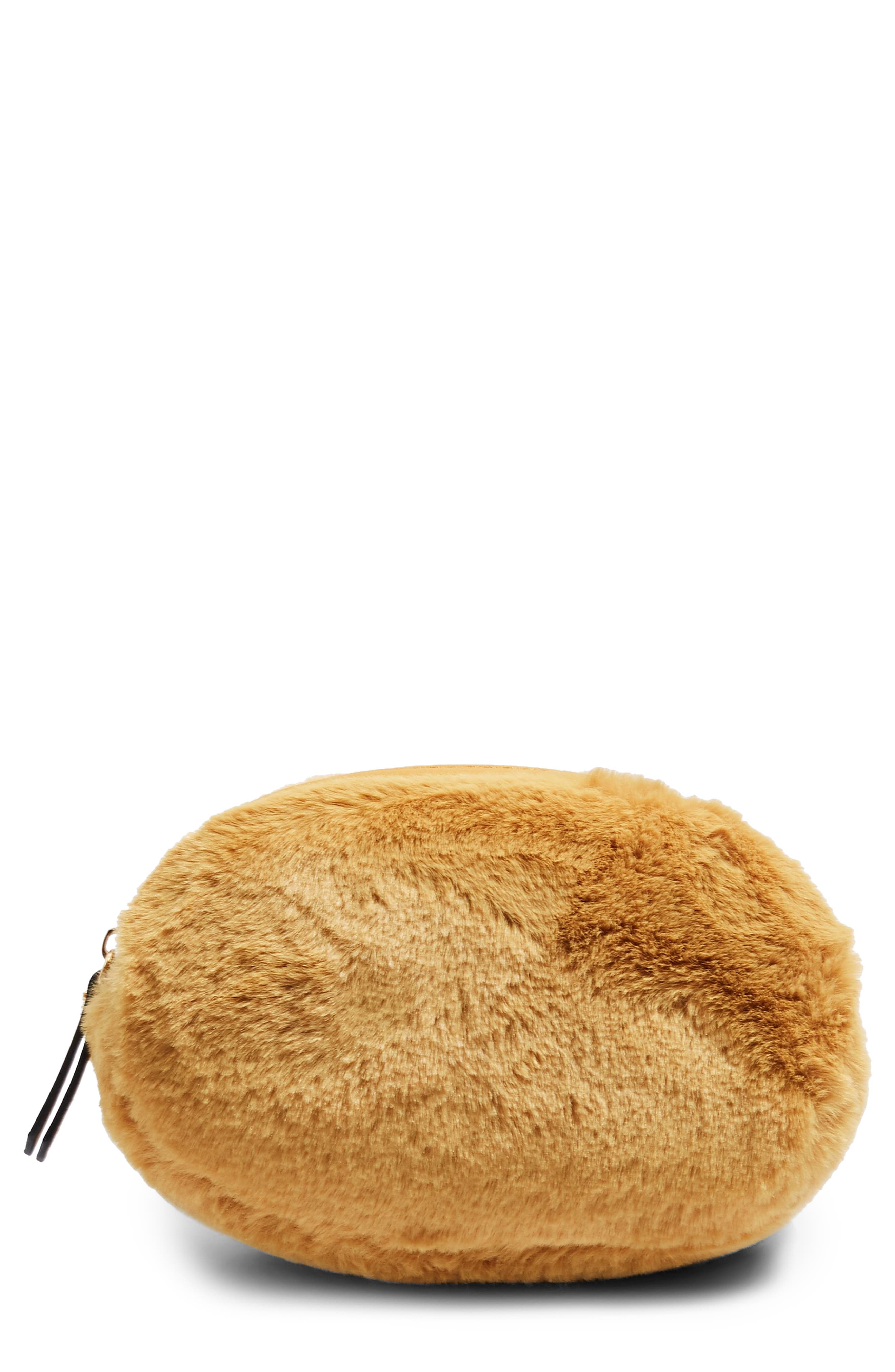 Faux Fur Oval Bumbag,                         Main,                         color, MUSTARD