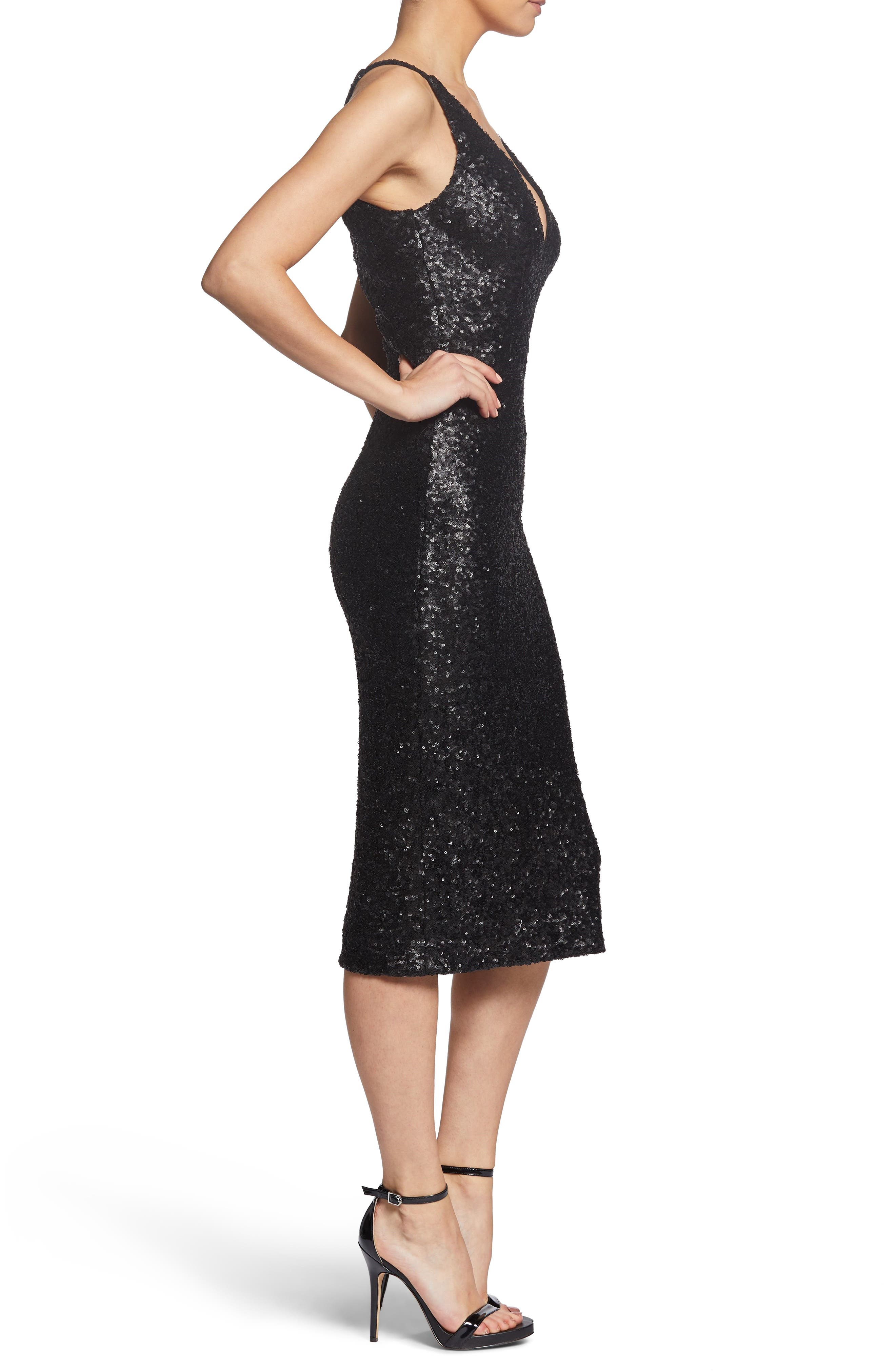 Camilla Plunging Sequin Sheath Dress,                             Alternate thumbnail 3, color,                             008