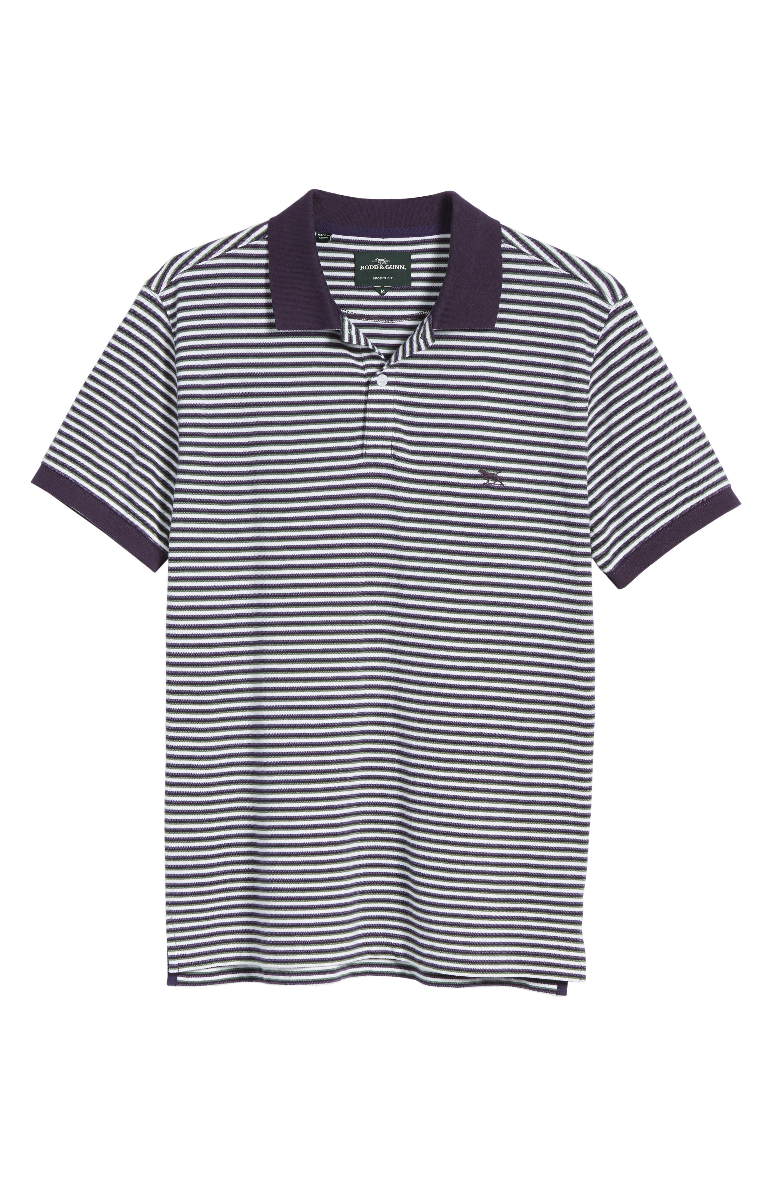 Swyers Point Sports Fit Stripe Polo,                             Alternate thumbnail 6, color,