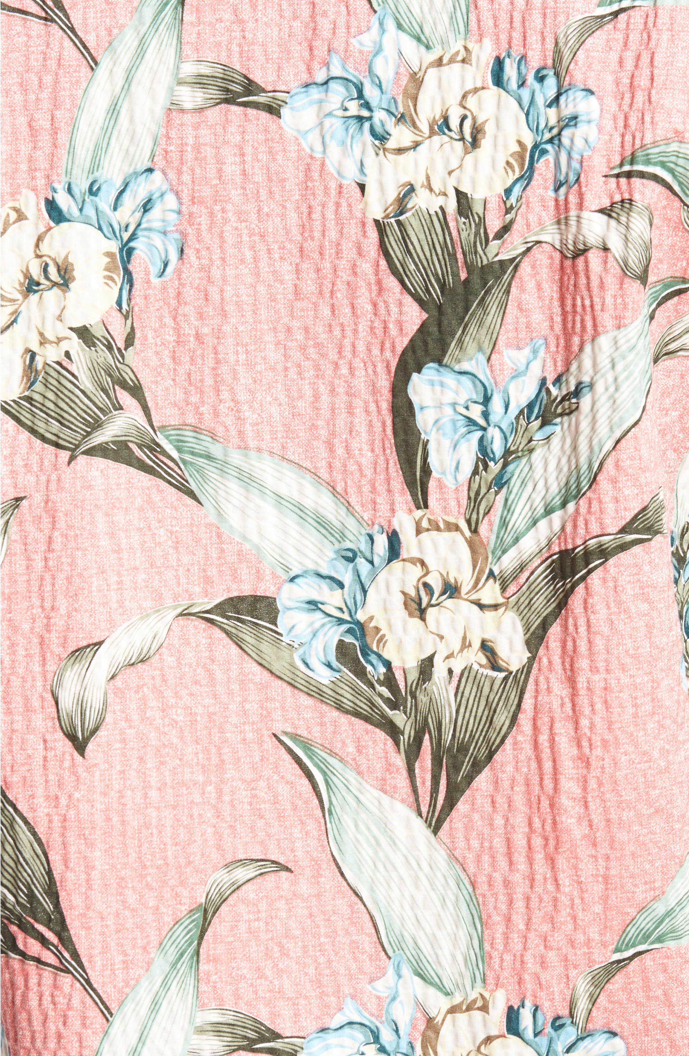 Cape Floral Seersucker Sport Shirt,                             Alternate thumbnail 5, color,