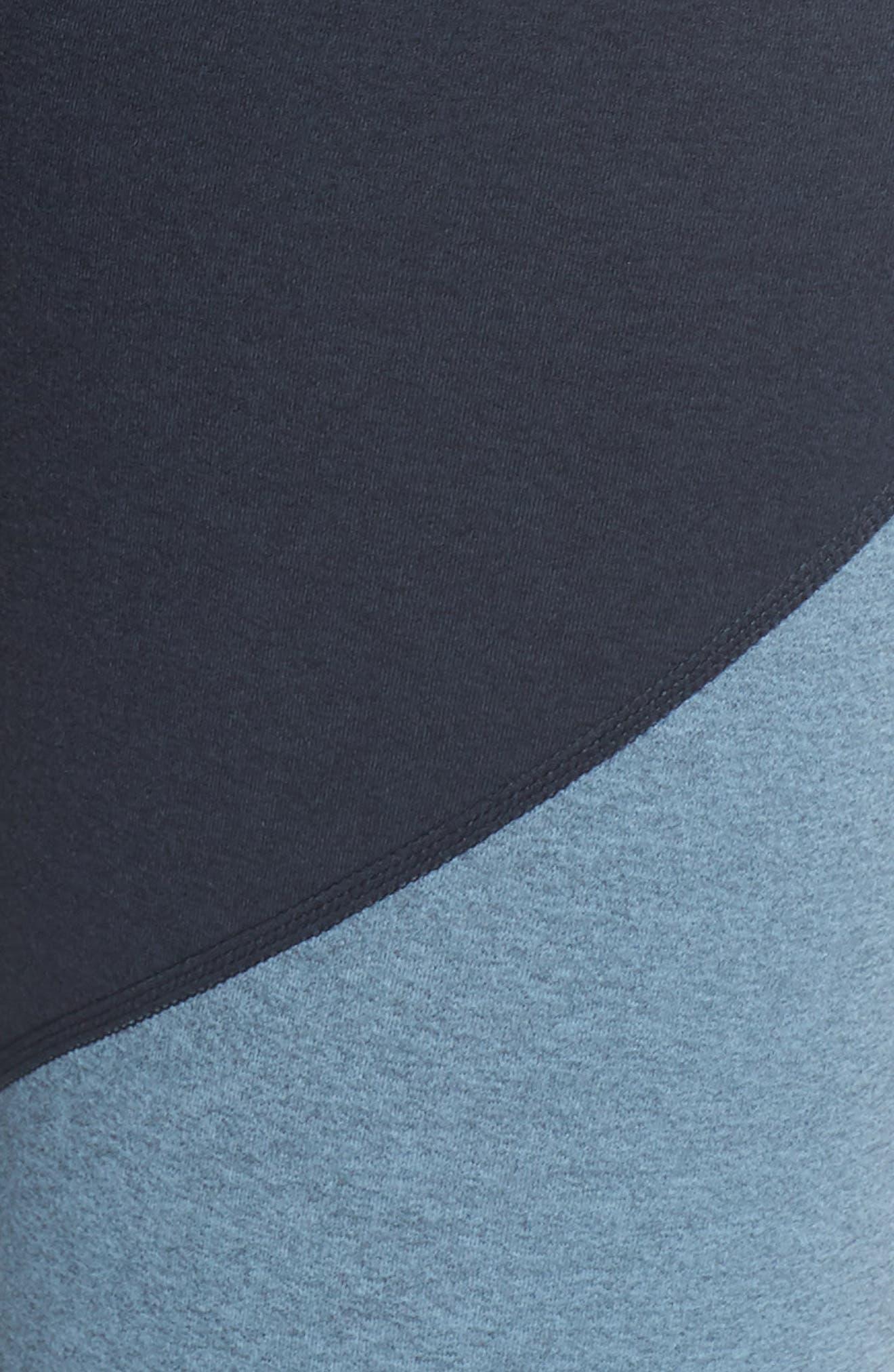 Plush High Waist Midi Leggings,                             Alternate thumbnail 6, color,                             NOCTURNAL NAVY/ LIGHT BLUE